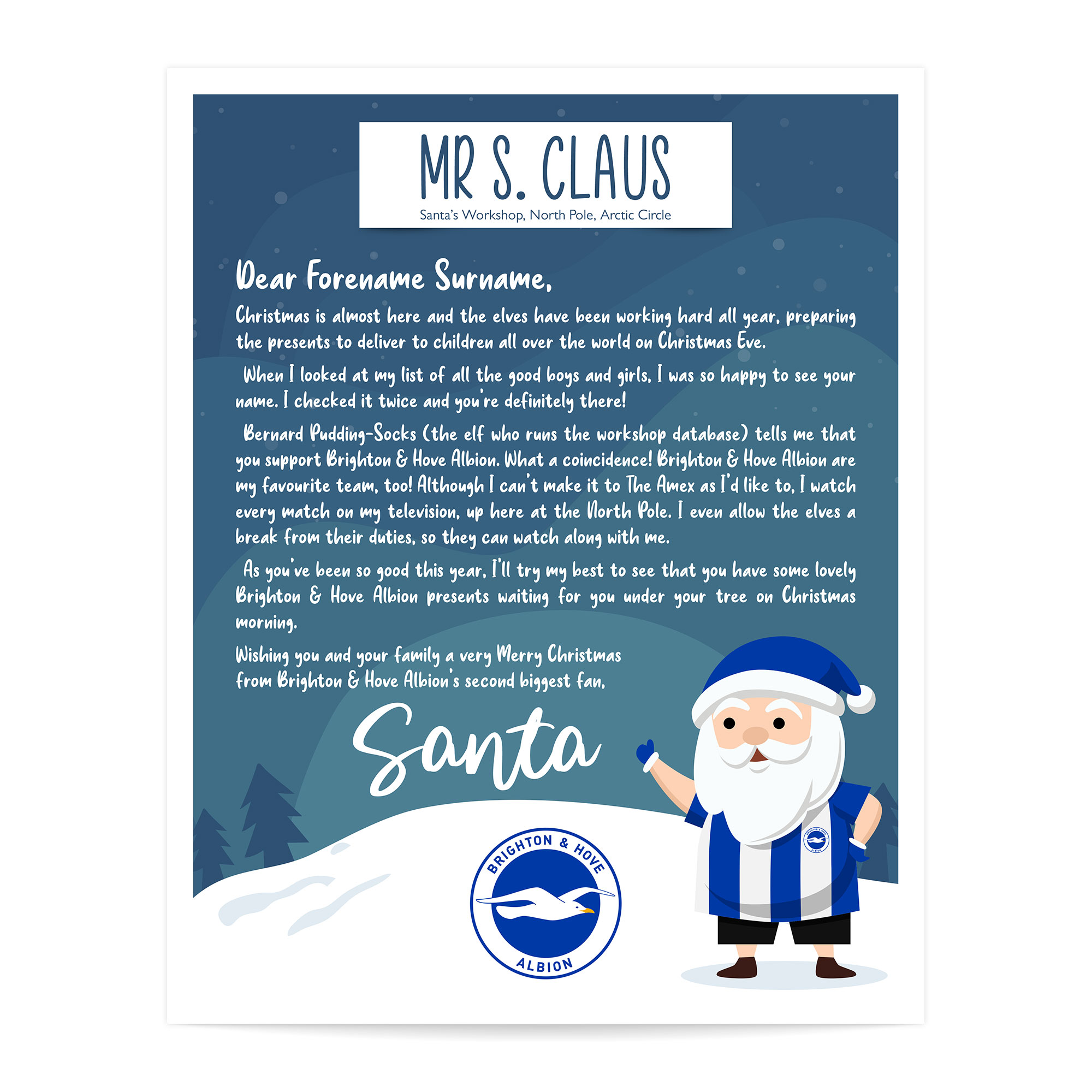 Brighton & Hove Albion FC Personalised Letter from Santa