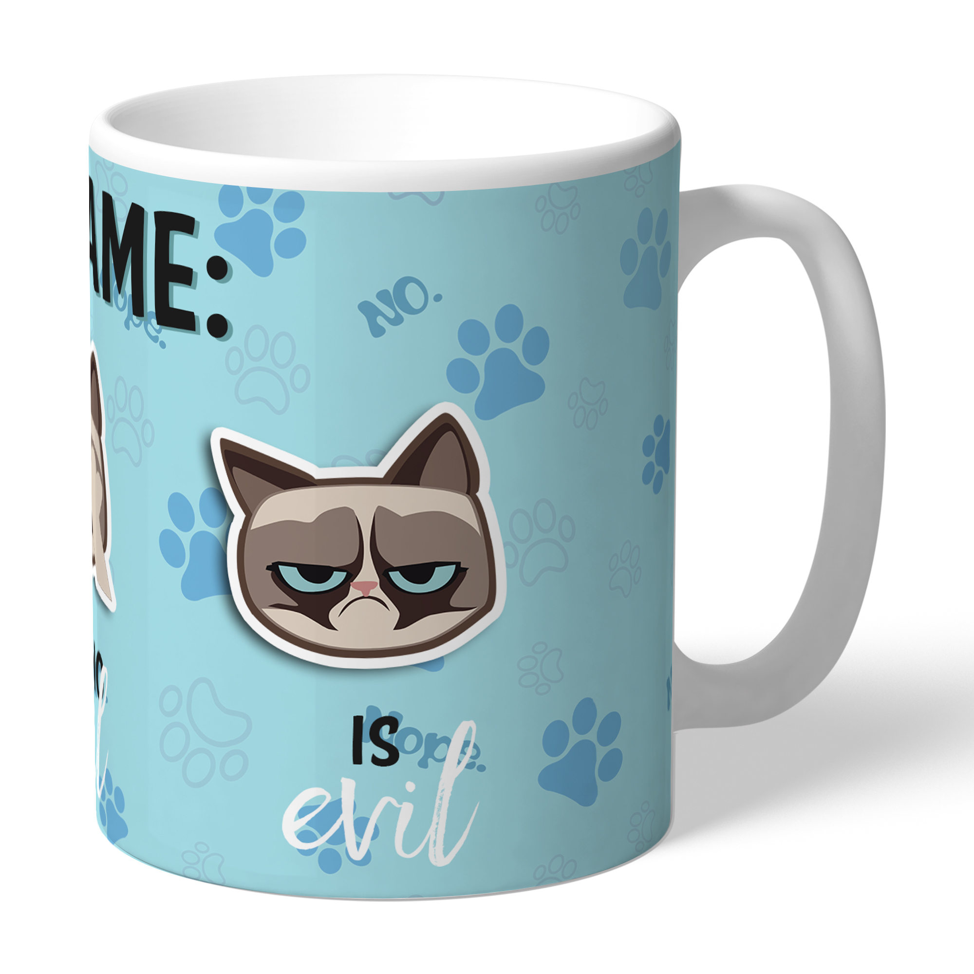 Grumpy Cat Emoji - Three Wise Cats Mug Blue