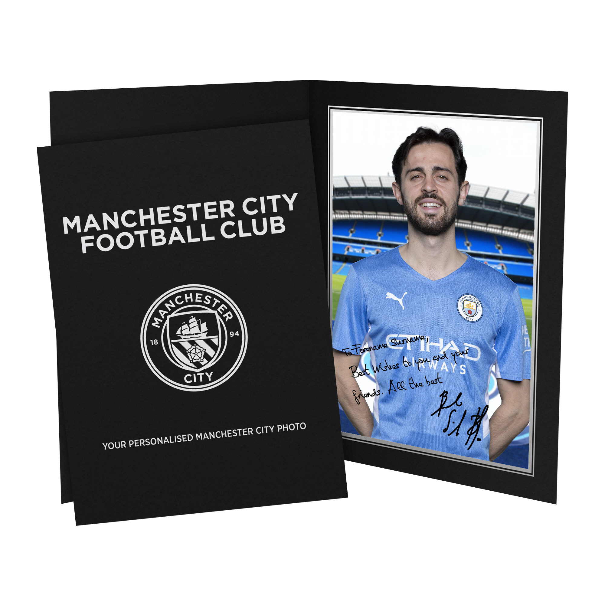 Manchester City FC Bernardo Autograph Photo Folder