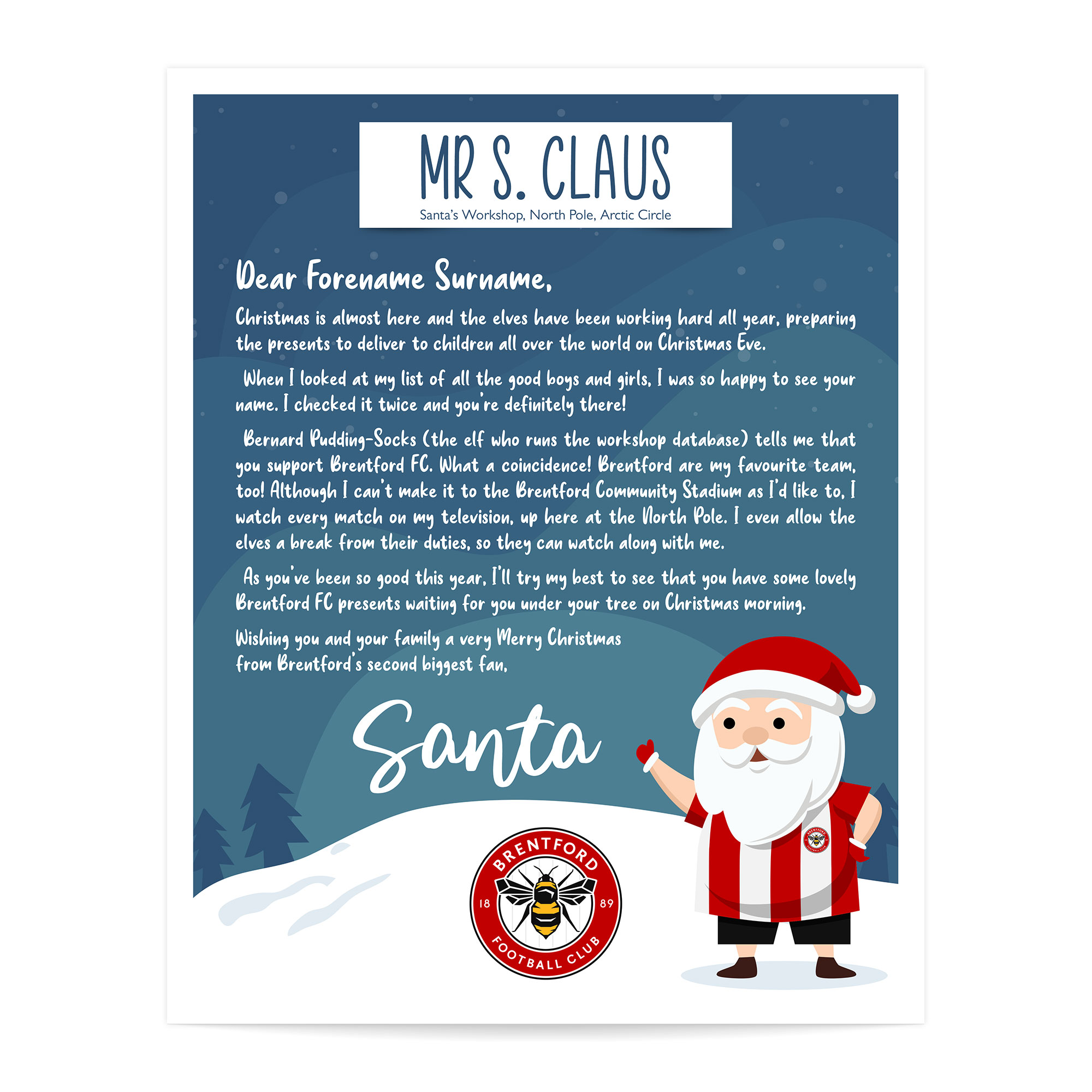 Brentford FC Personalised Letter from Santa