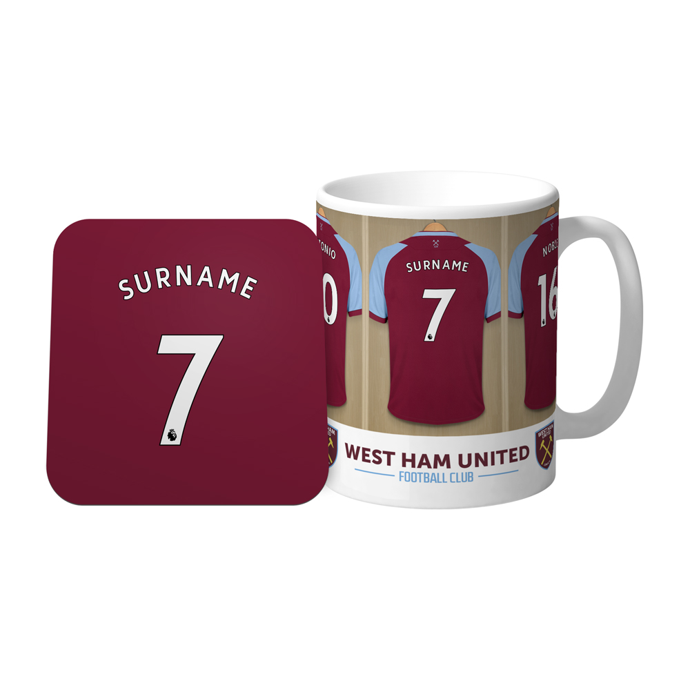 West Ham United FC Dressing Room Mug & Coaster Set