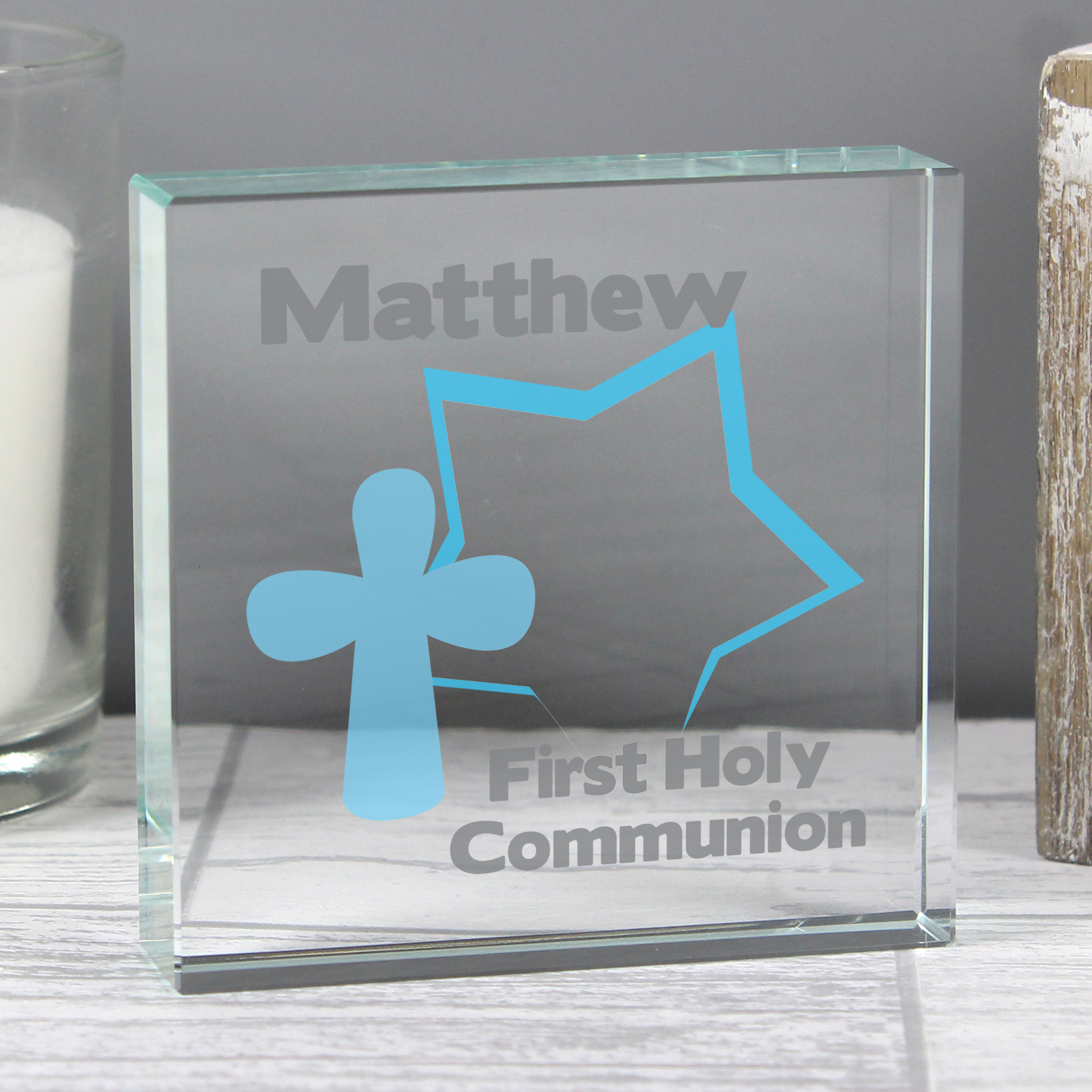 Personalised Large Crystal Token - Star & Cross