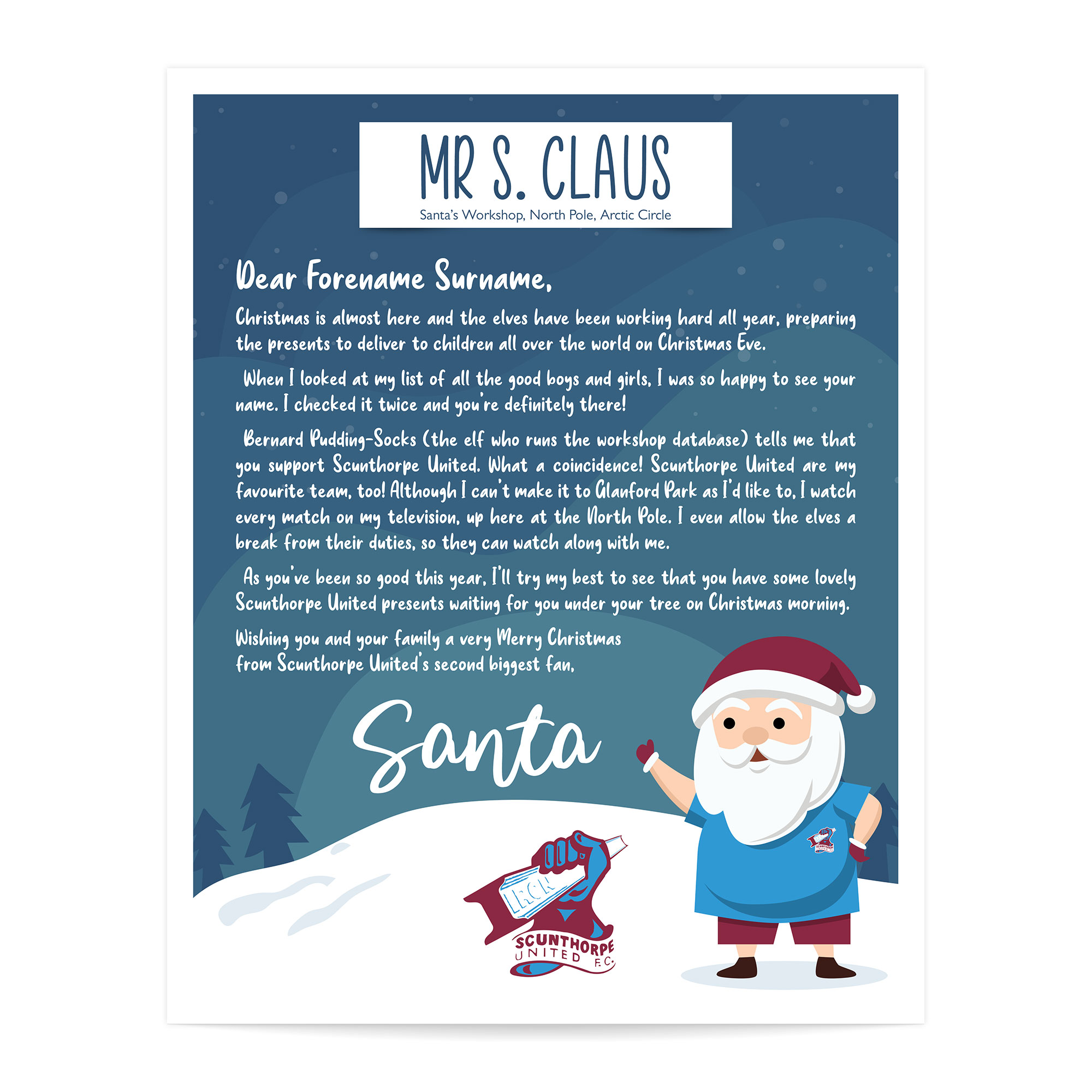 Scunthorpe FC Personalised Letter from Santa