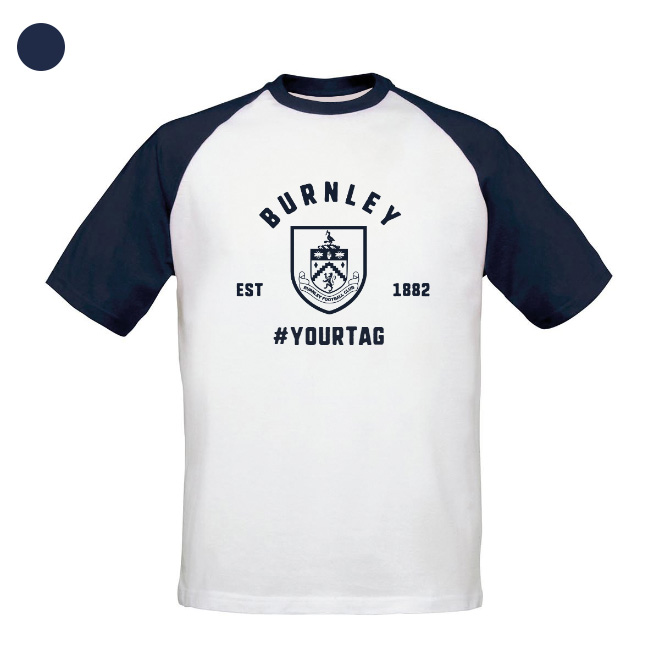 Burnley FC Vintage Hashtag Baseball T-Shirt