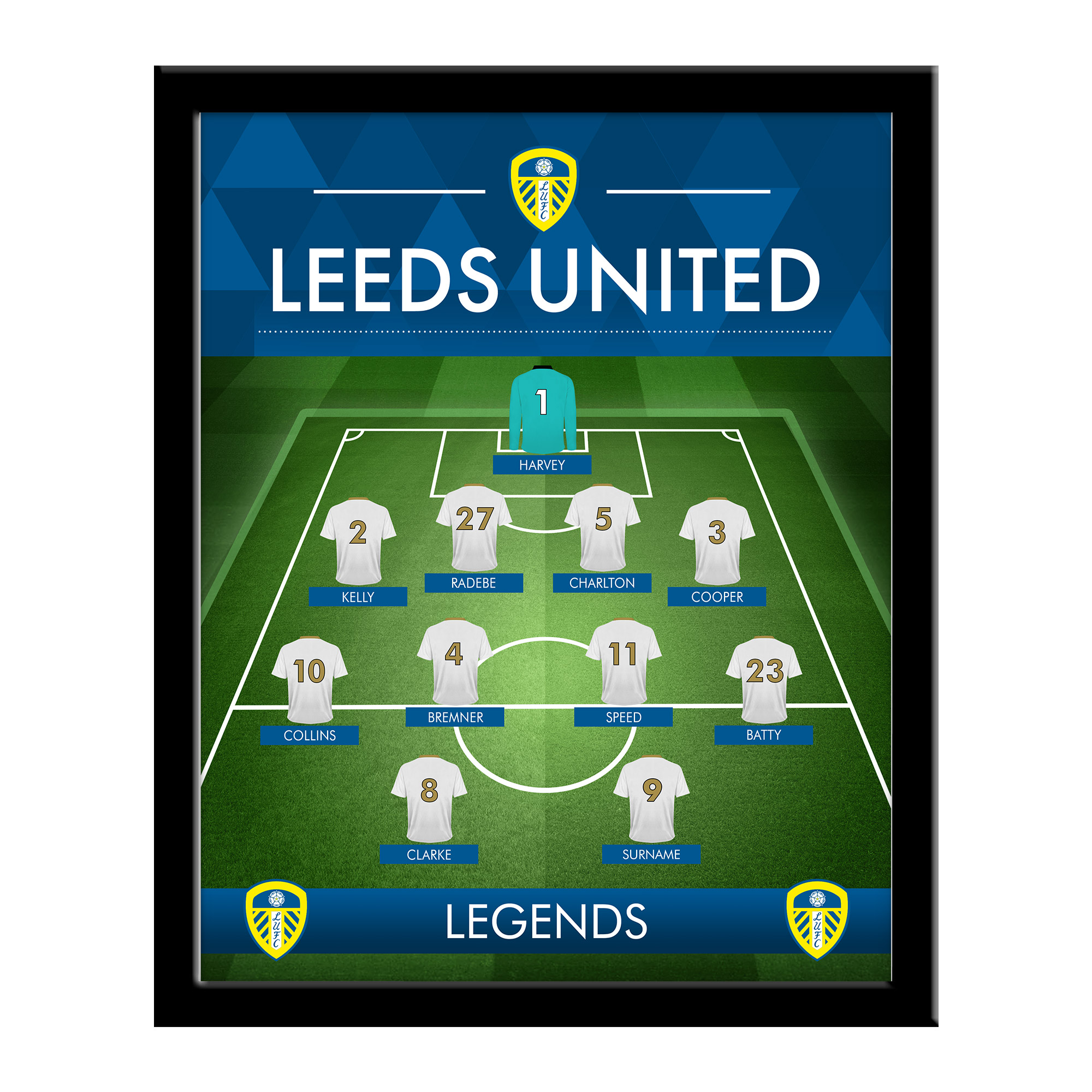 Leeds United FC Legends Line-Up Print - Framed