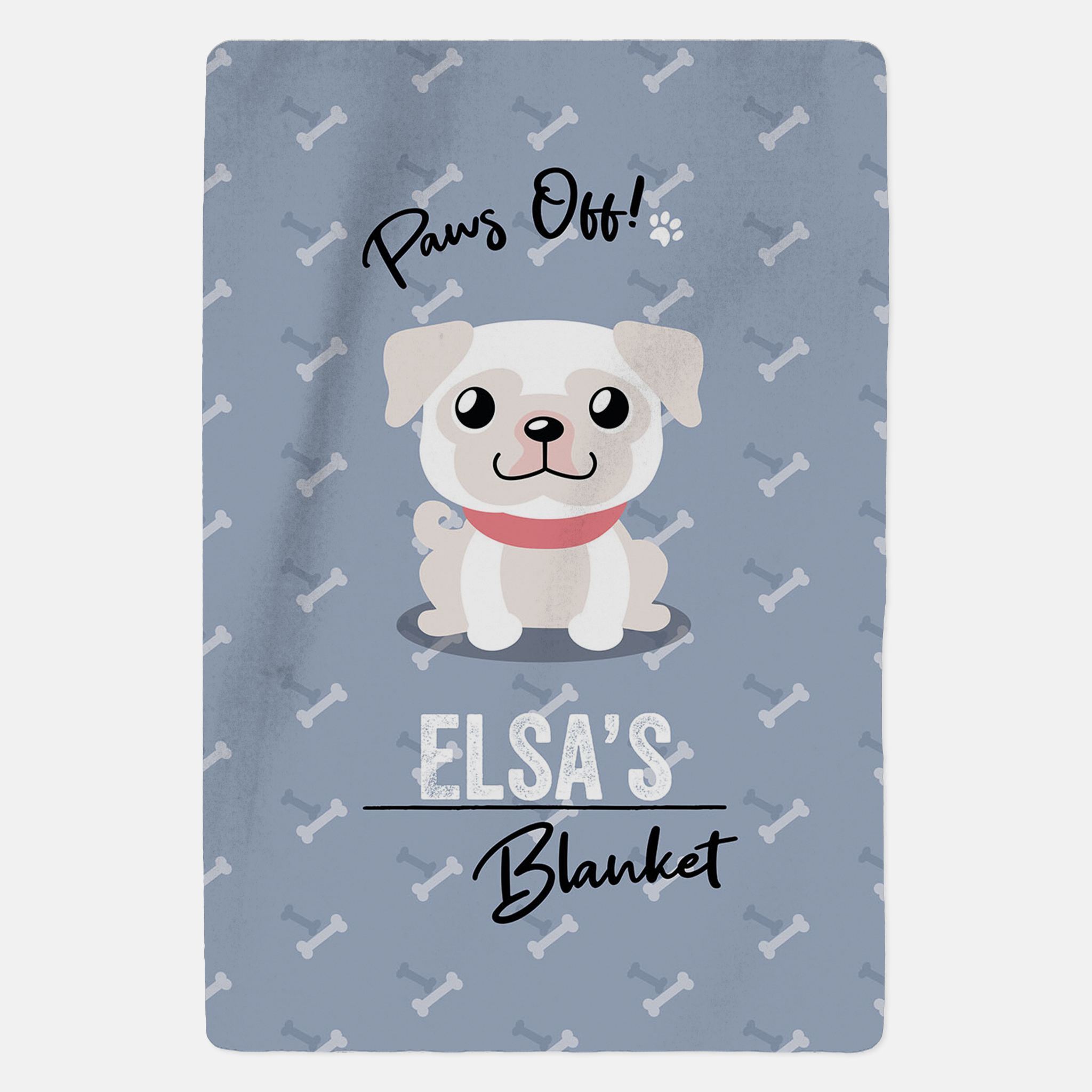 Personalised White Pug Blanket - Paws Off