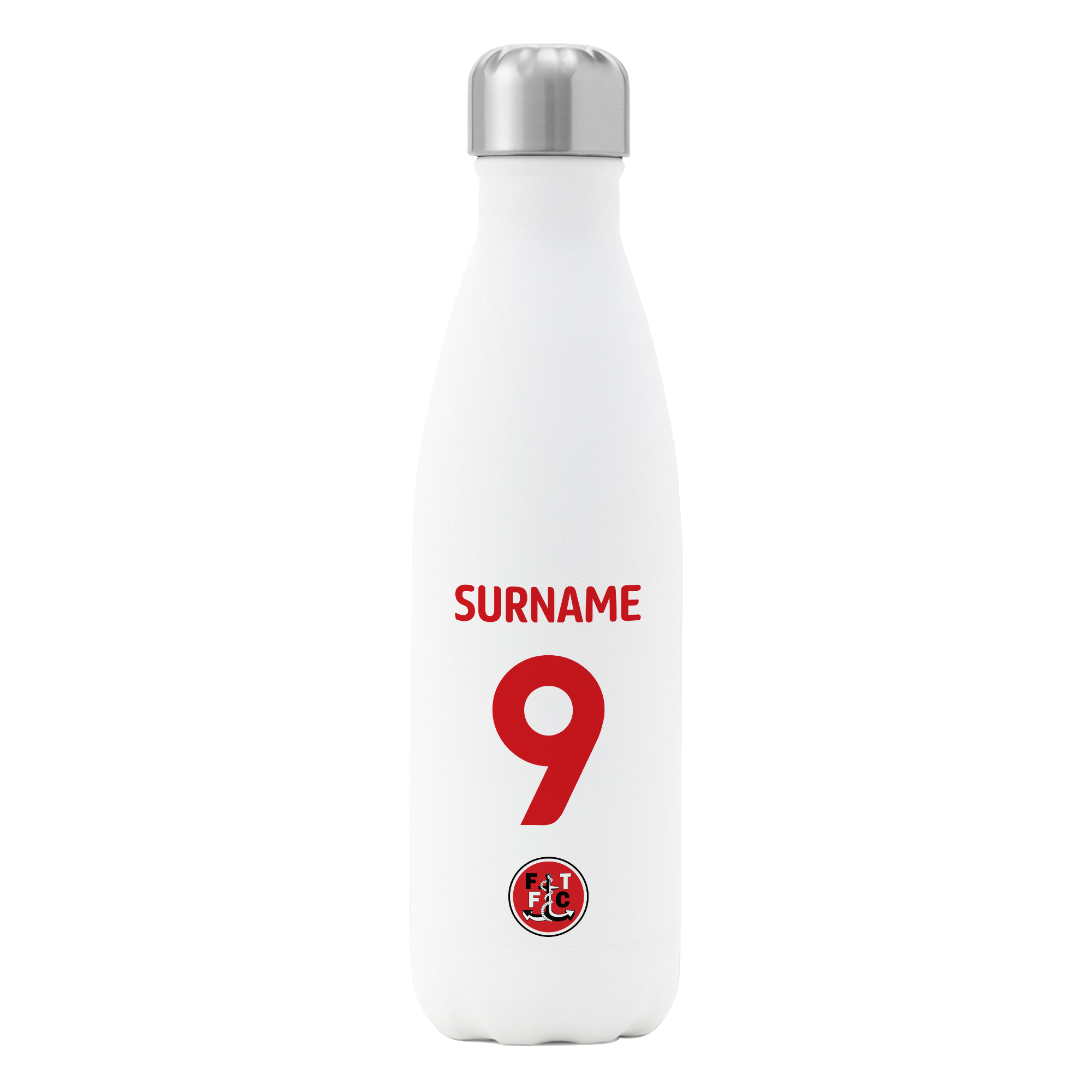 Fleetwood Town FC Back of Shirt Insulated Water Bottle - White