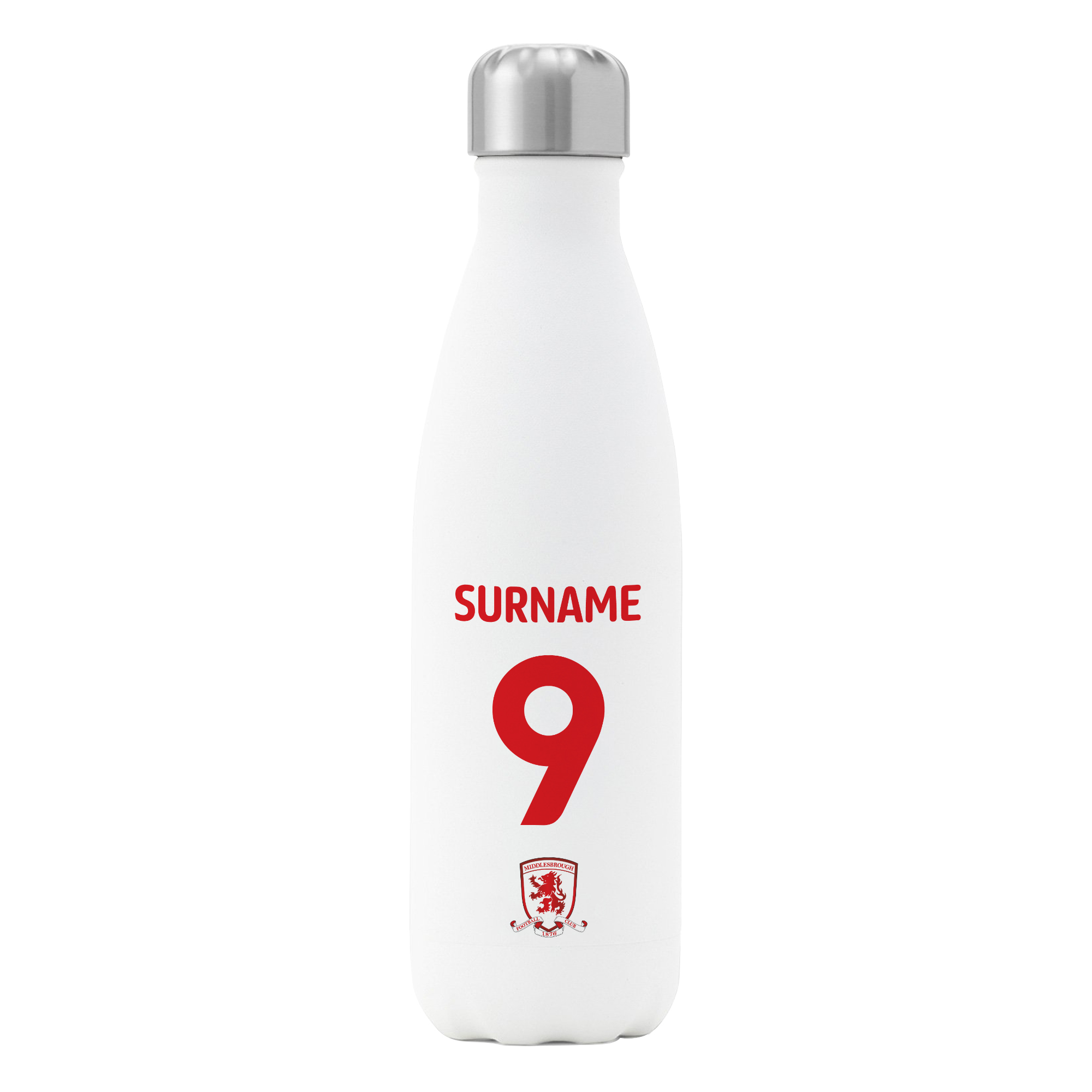 Middlesbrough FC Back of Shirt Insulated Water Bottle - White