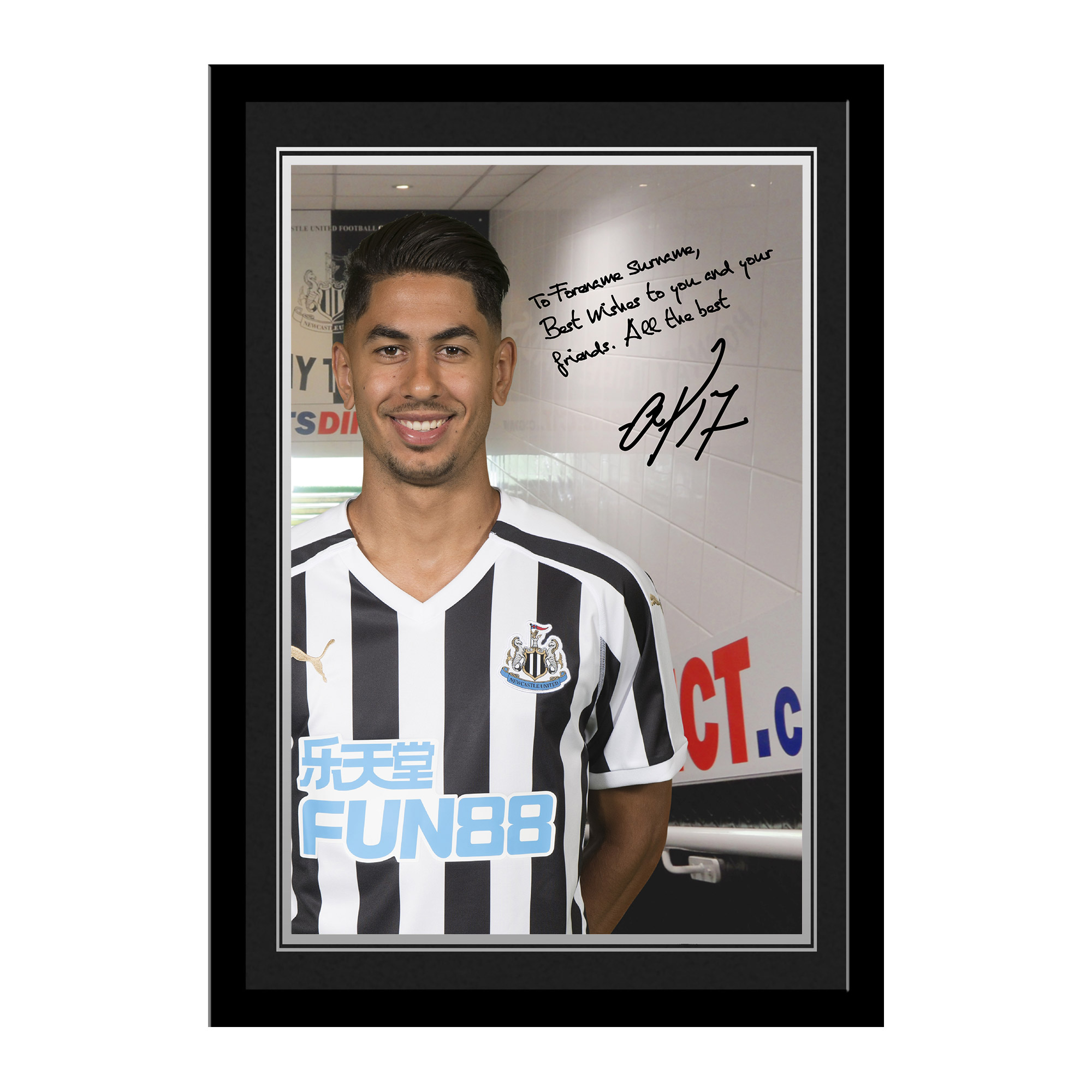 Newcastle United FC Perez Autograph Photo Framed