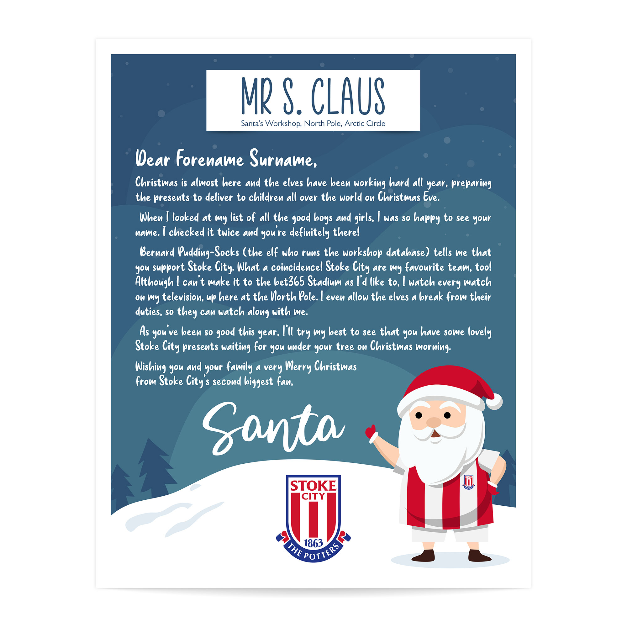 Stoke City FC Personalised Letter from Santa