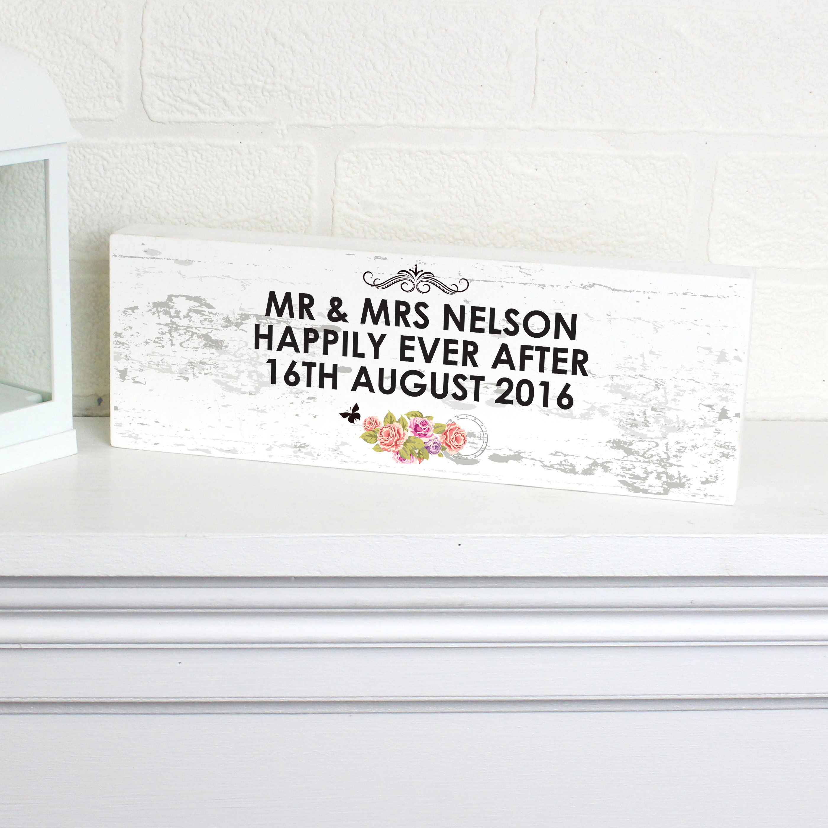 Personalised Shabby Chic Mantel Block