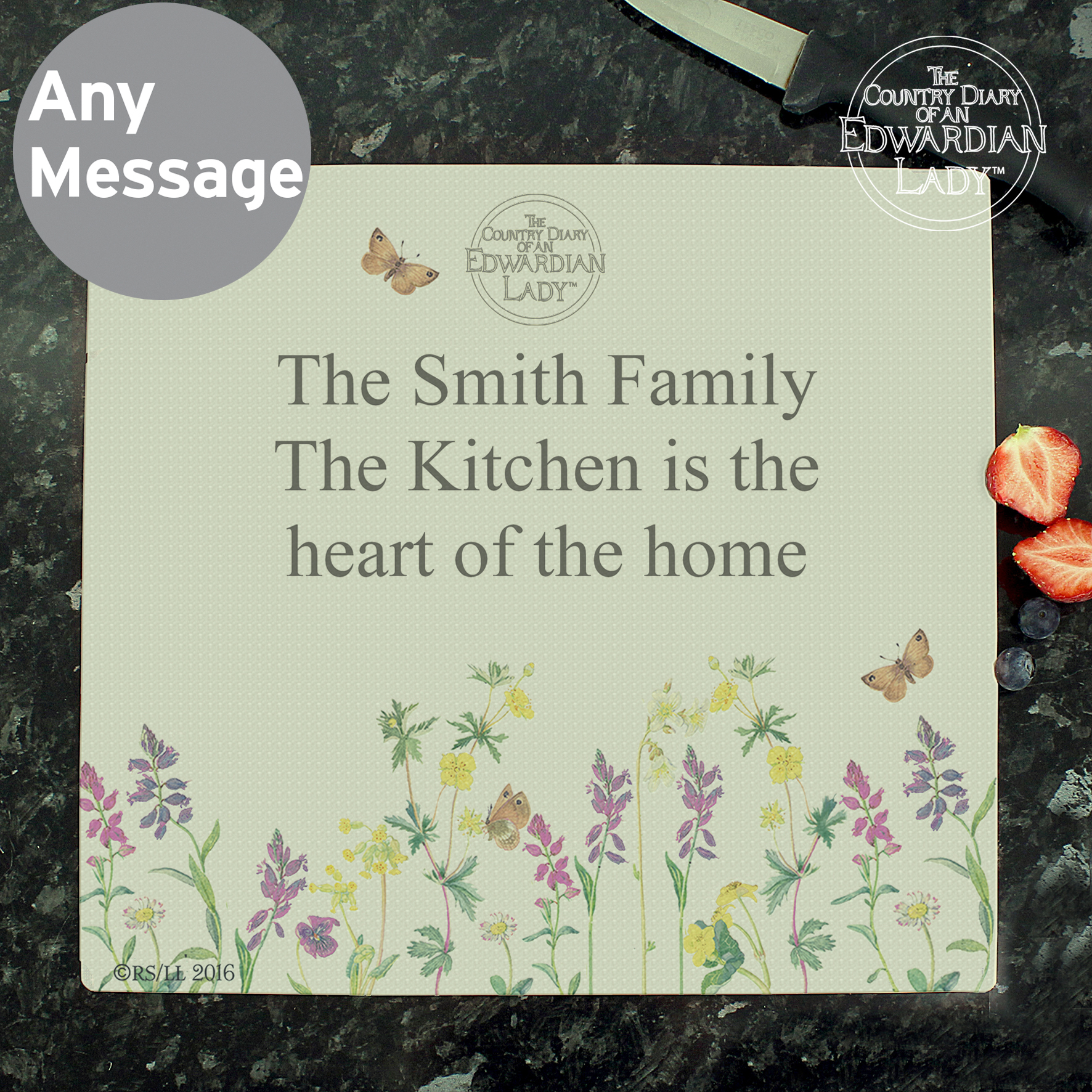 Personalised Country Diary Wild Flowers Glass Chopping Board