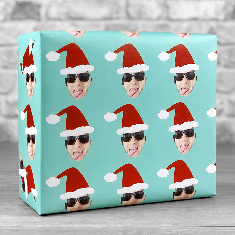 Santa Hat Teal Gift Wrap with Face Upload