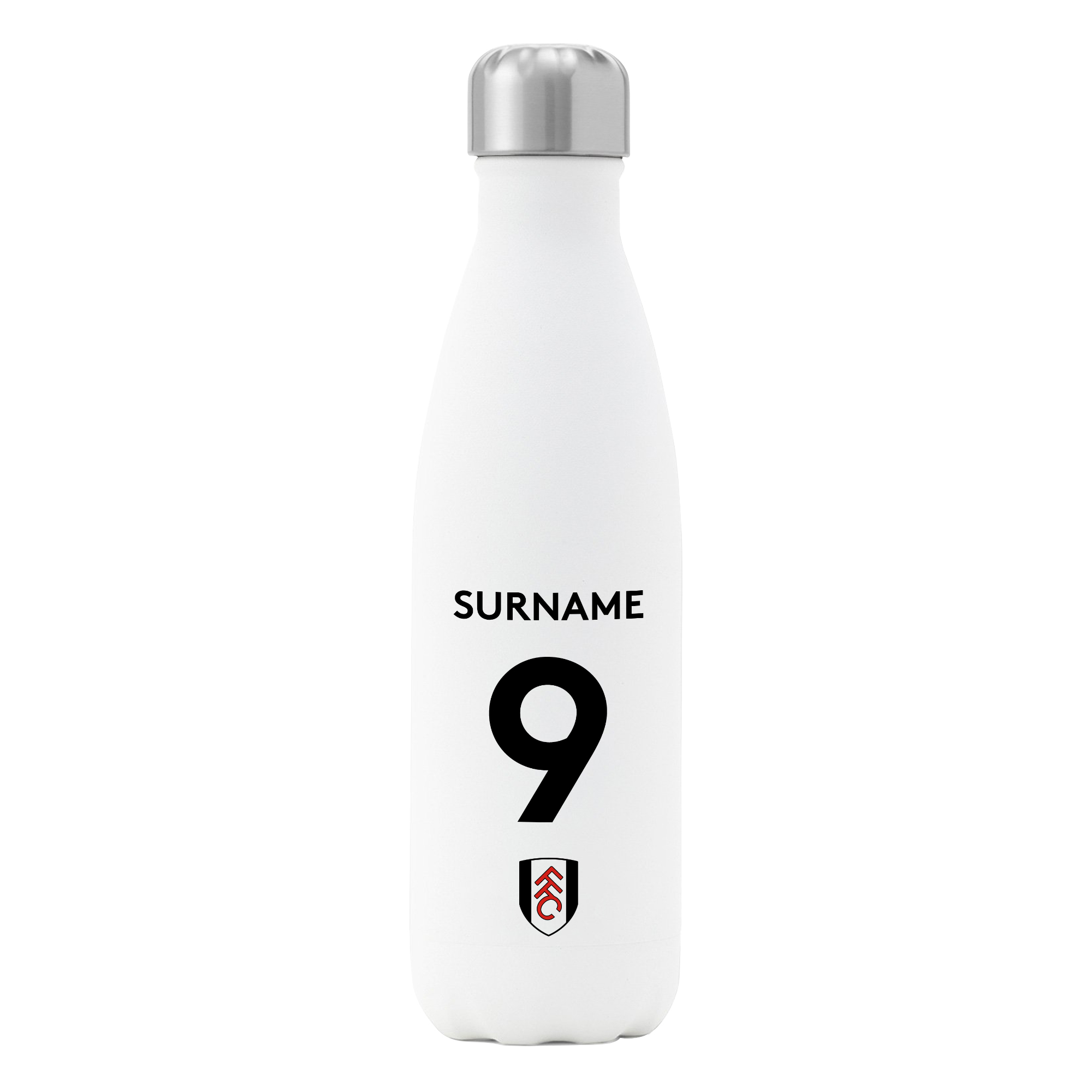 Fulham FC Back of Shirt Insulated Water Bottle - White