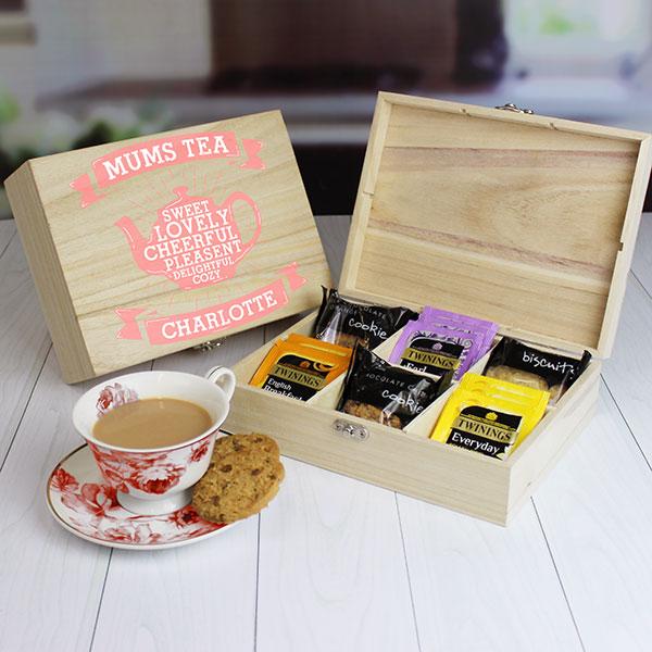 Mums Wooden Tea Chest - Tea & Biscuits