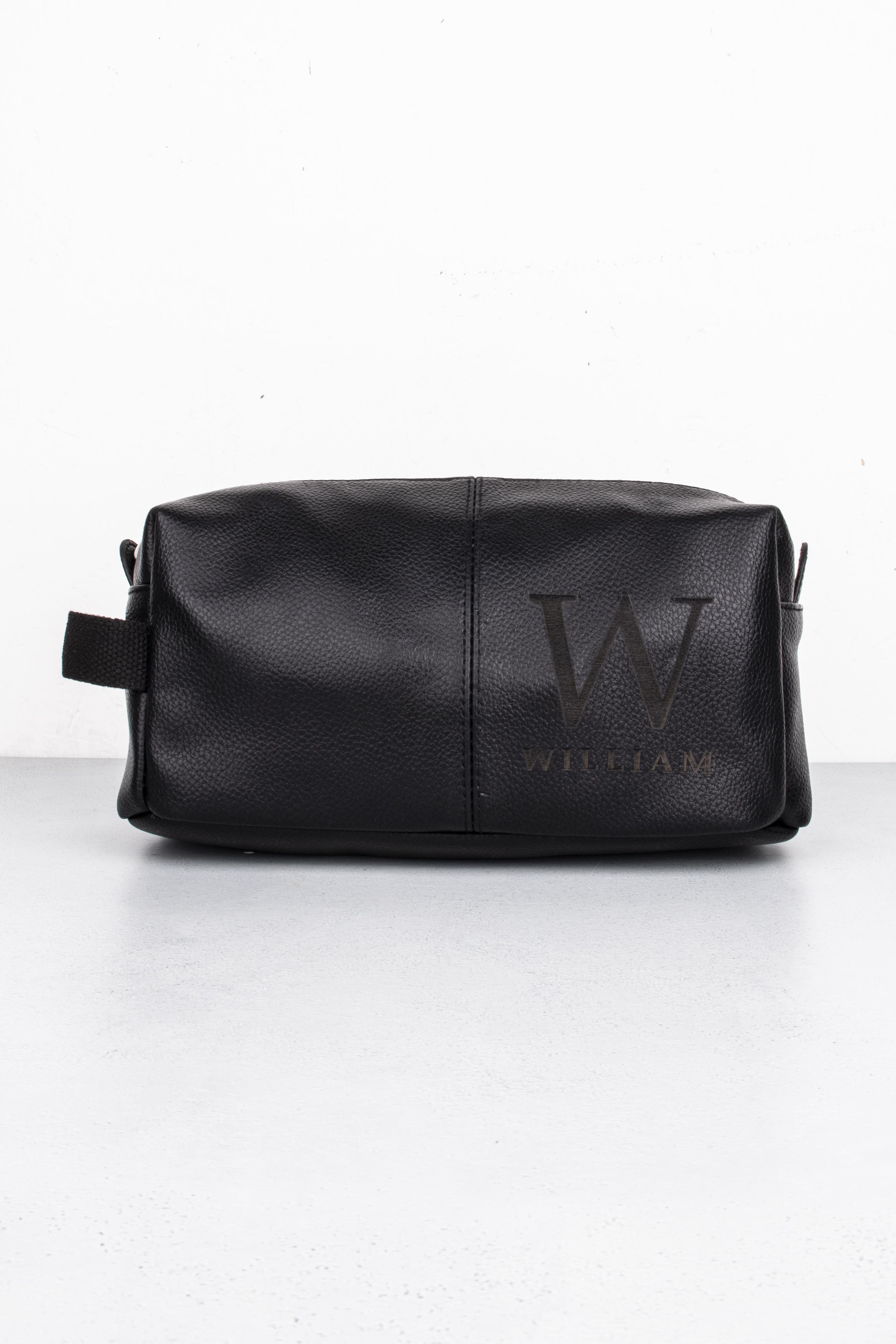 Black Initial Wash Bag