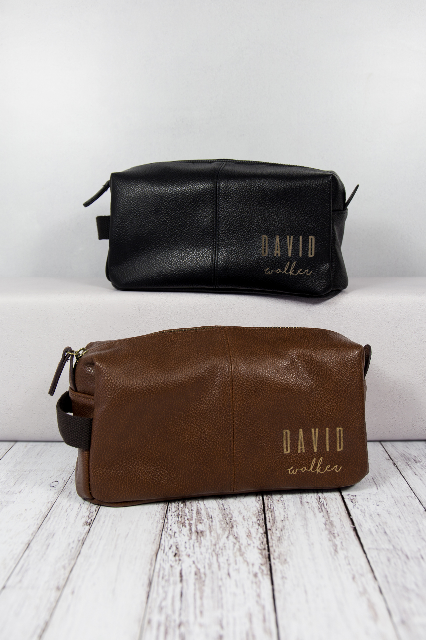 Black Faux Leather Wash Bag