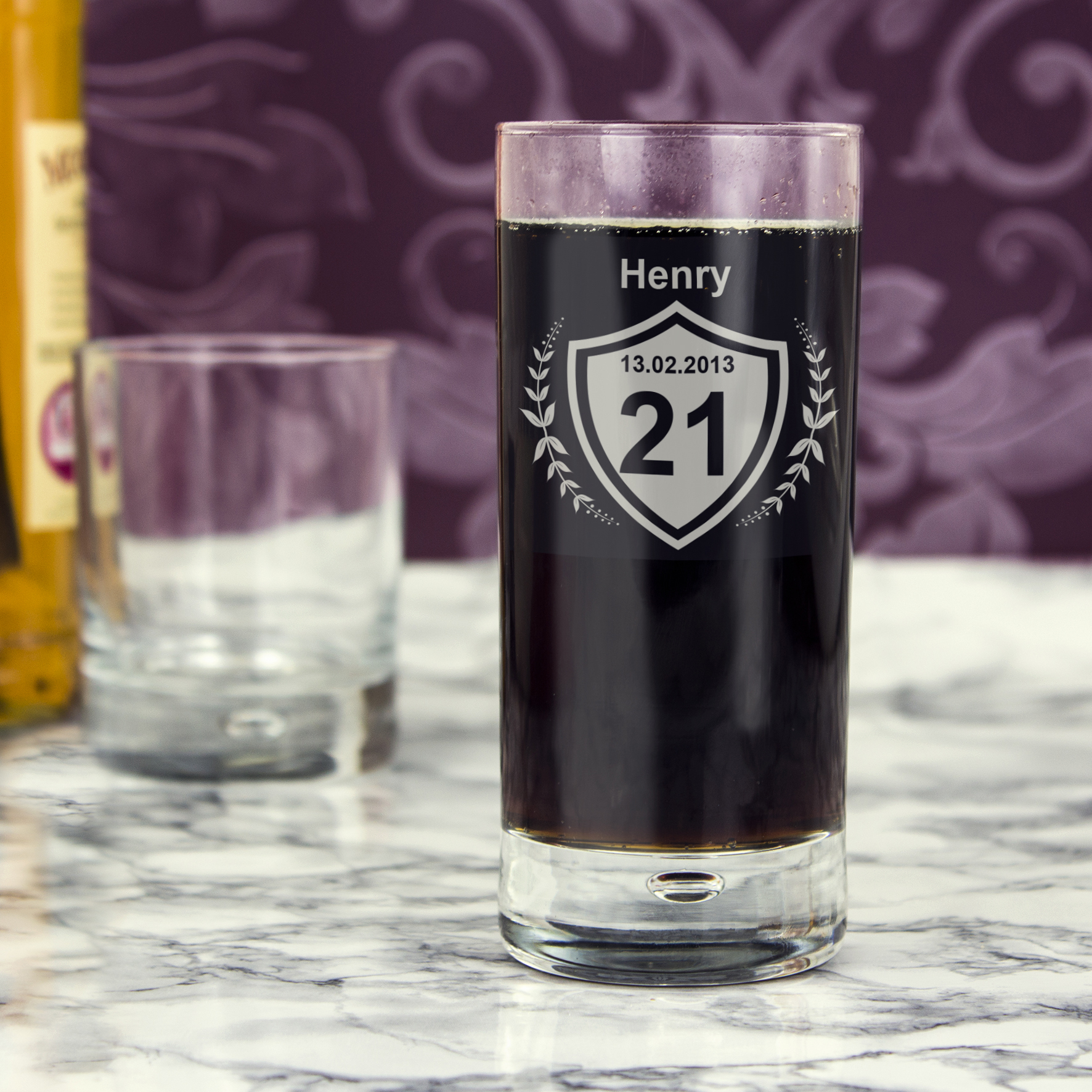 Engraved Age Crest Hi Ball Bubble Glass