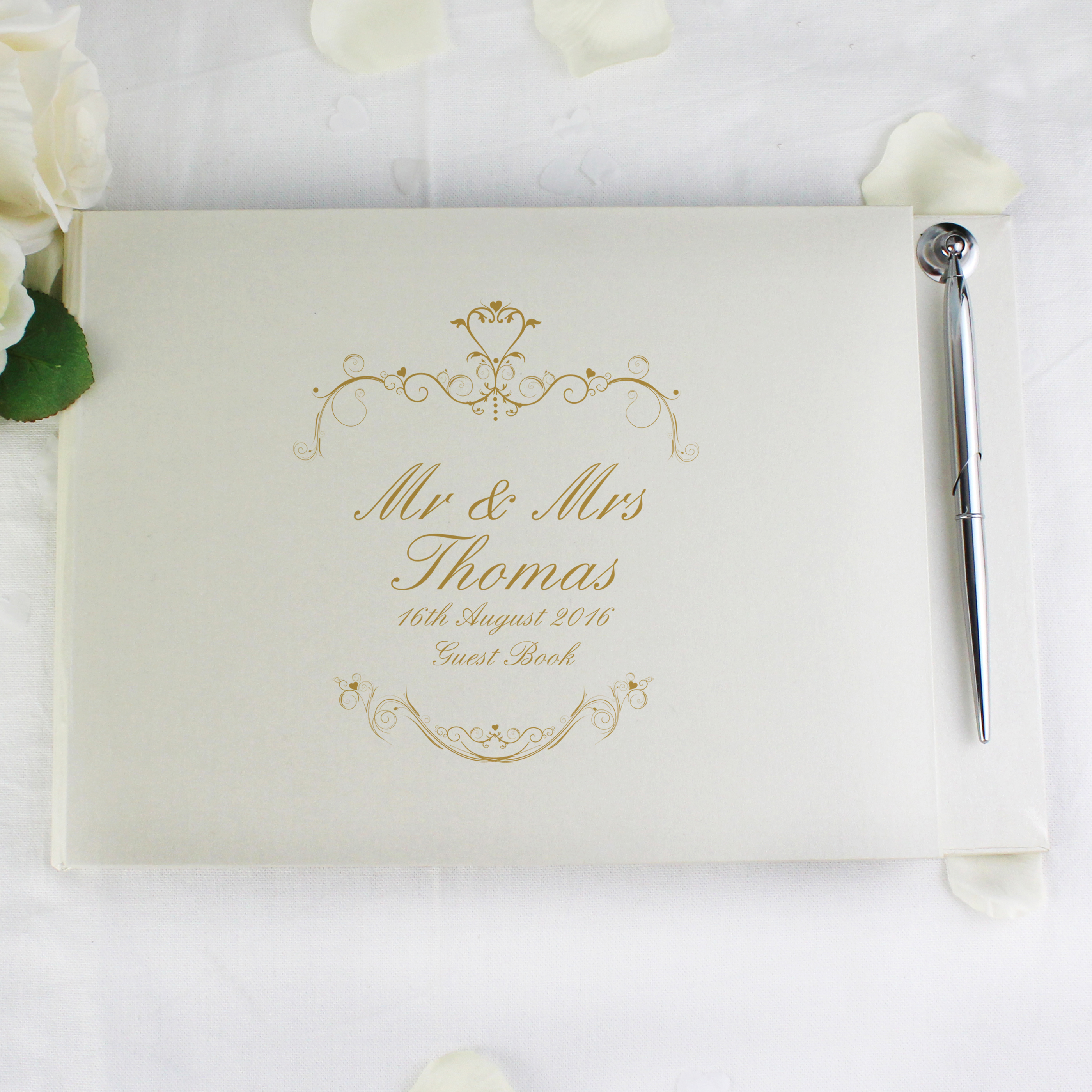 Personalised Gold Ornate Swirl Guest Book & Pen