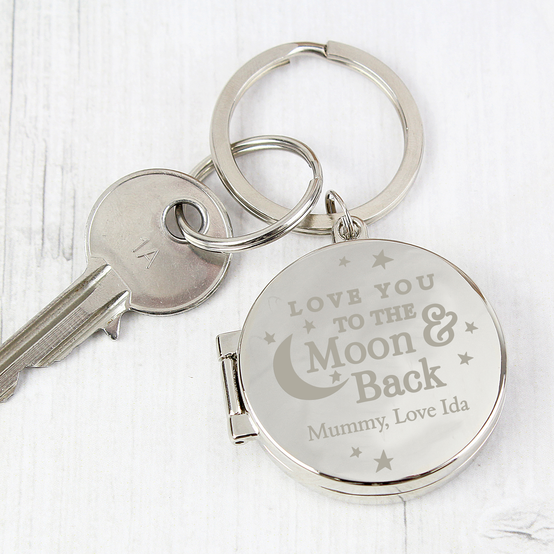 Engraved To the Moon and Back...Photo Keyring