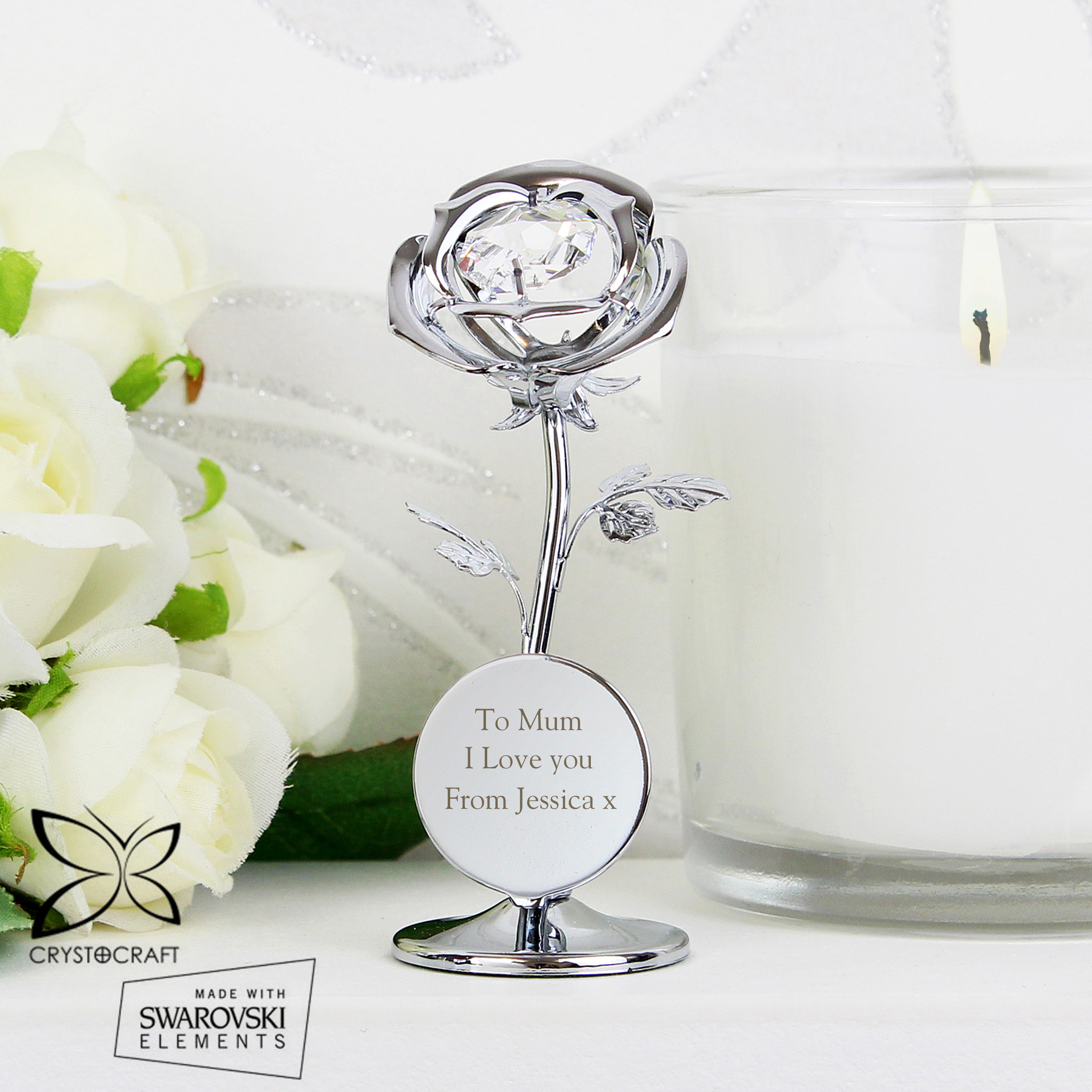 Engraved Crystocraft Rose Ornament