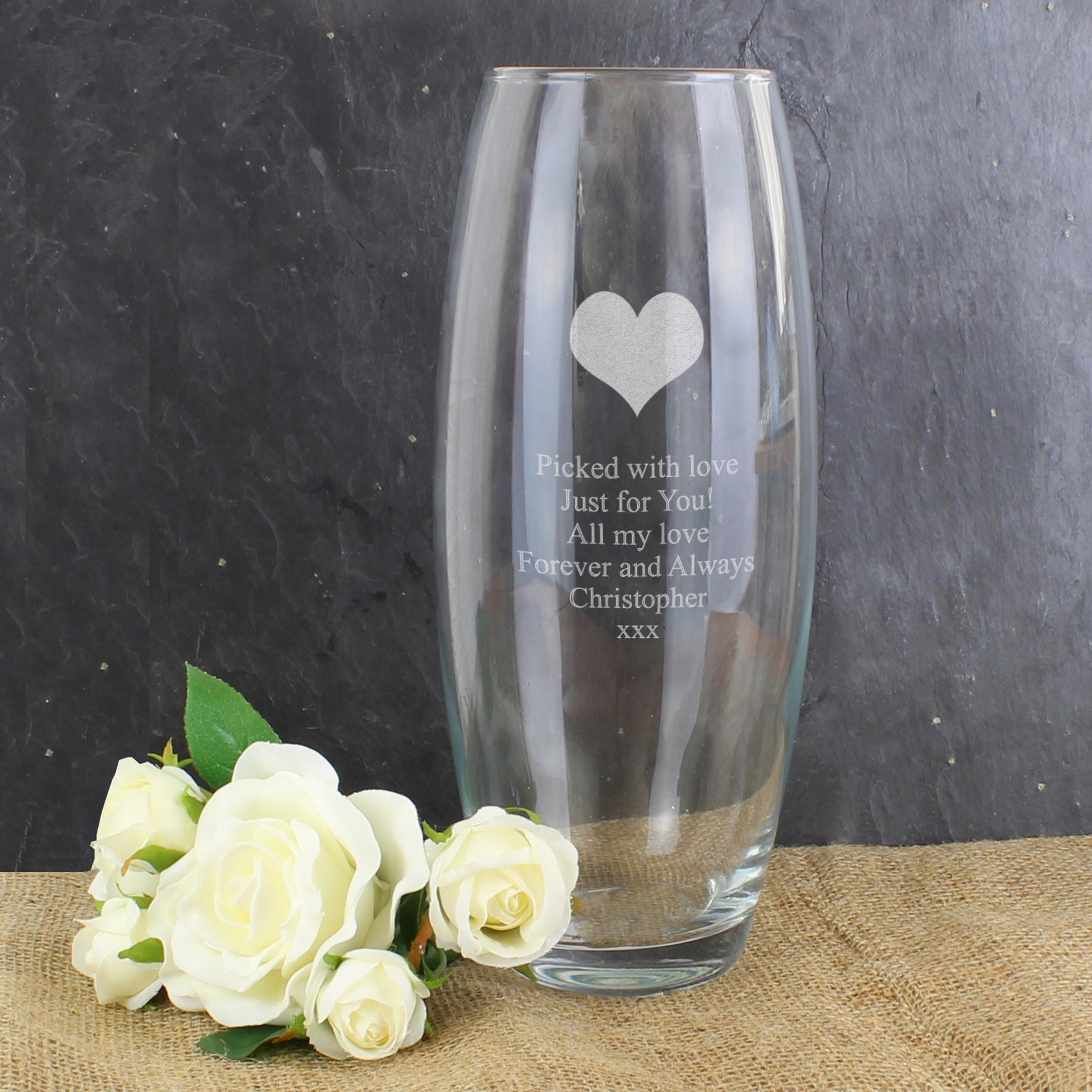 Engraved Heart Bullet Vase