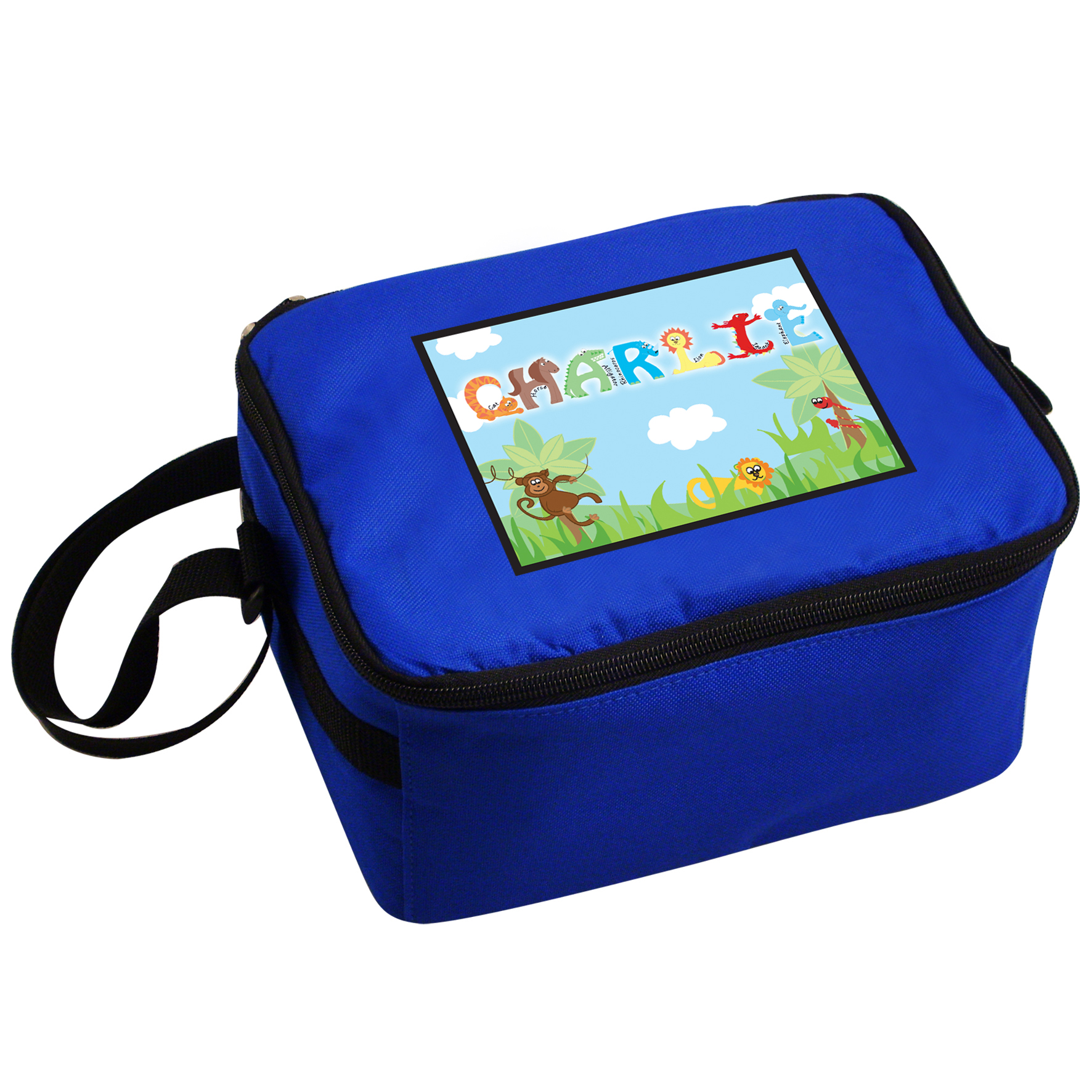 Personalised Animal Name Blue Lunch Bag