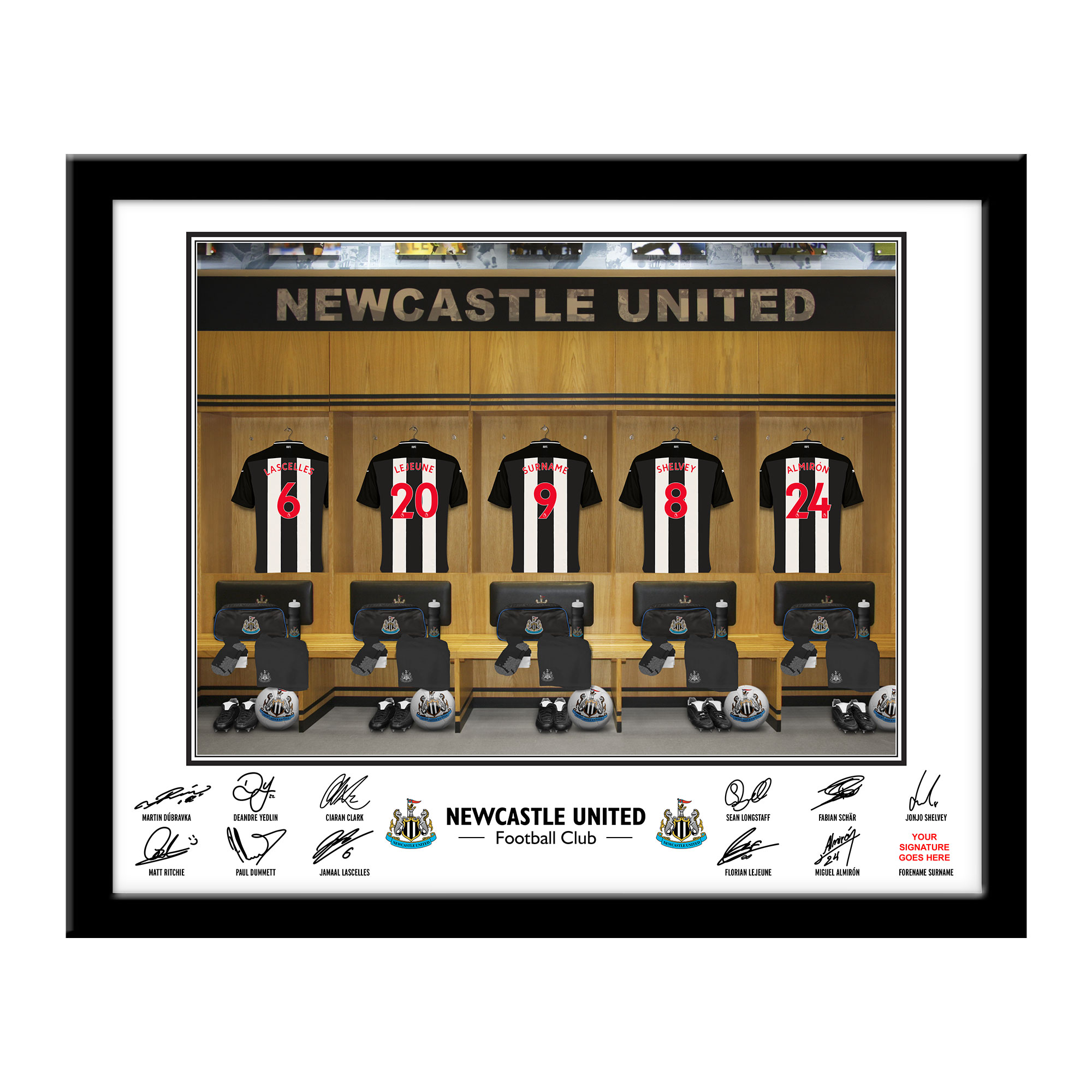 Newcastle United FC Dressing Room Framed Print
