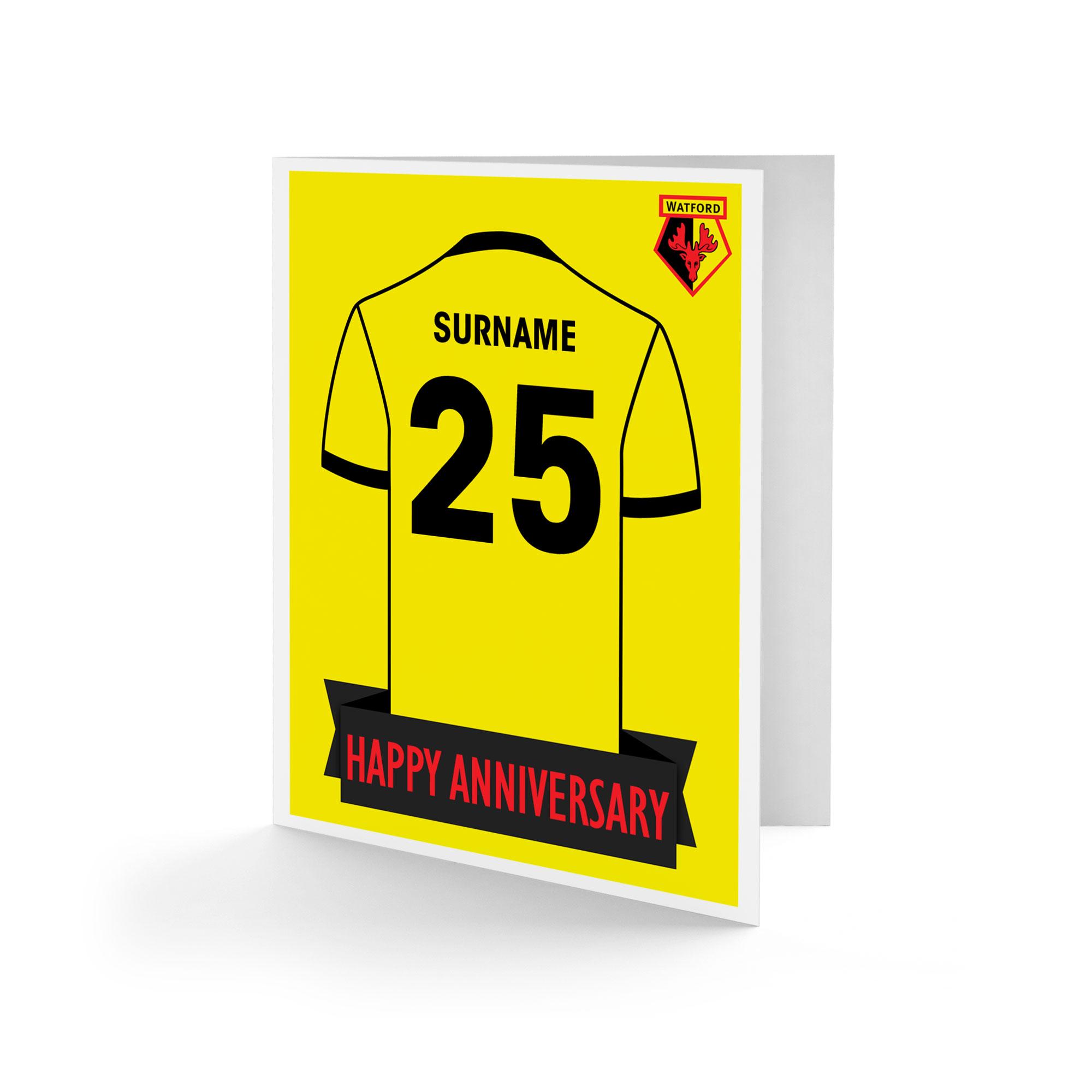 Watford FC Shirt Anniversary Card