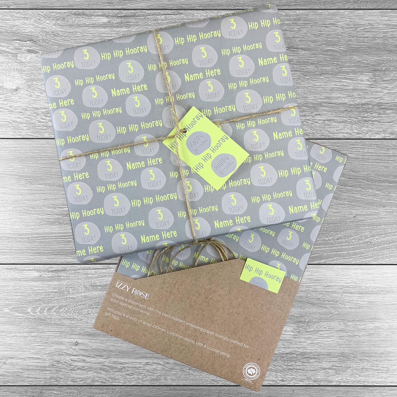 Hip Hip Hooray Birthday Giftwrap - Multiple colour choices