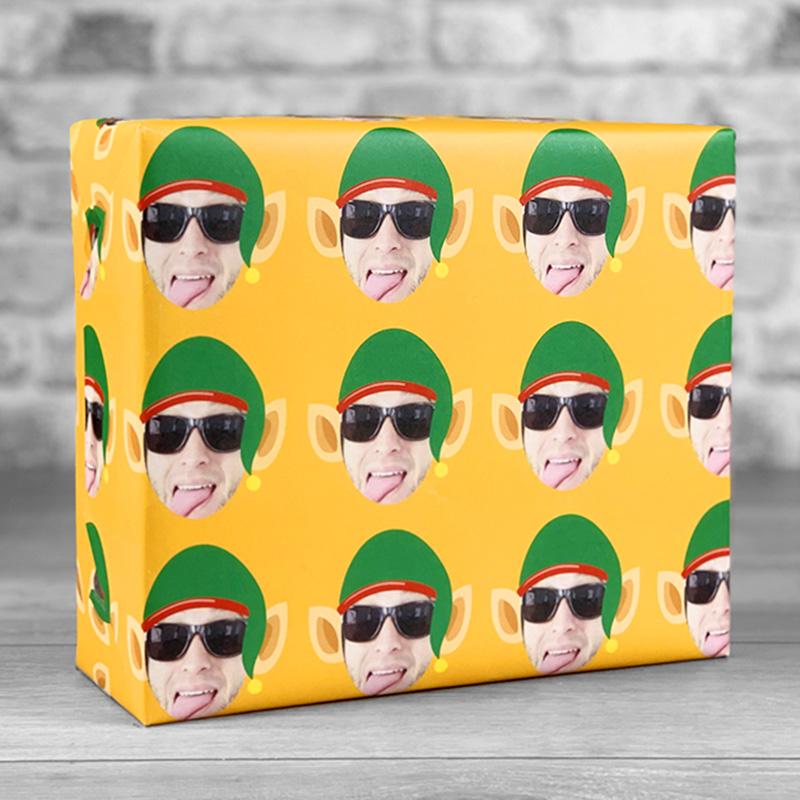 Elf Hat Orange Gift Wrap with Face Upload