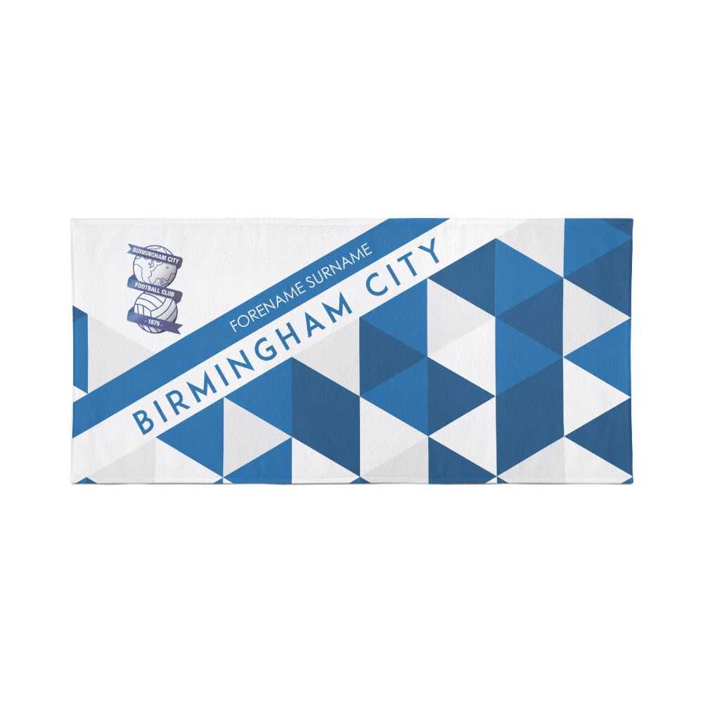 Birmingham City Personalised Towel - Geometric Design - 70 x 140