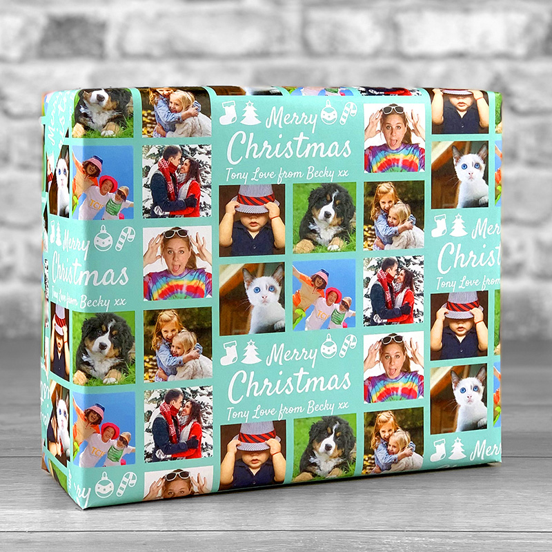 Merry Christmas Teal Gift Wrap with Personalised Message and 7 Photo Uploads