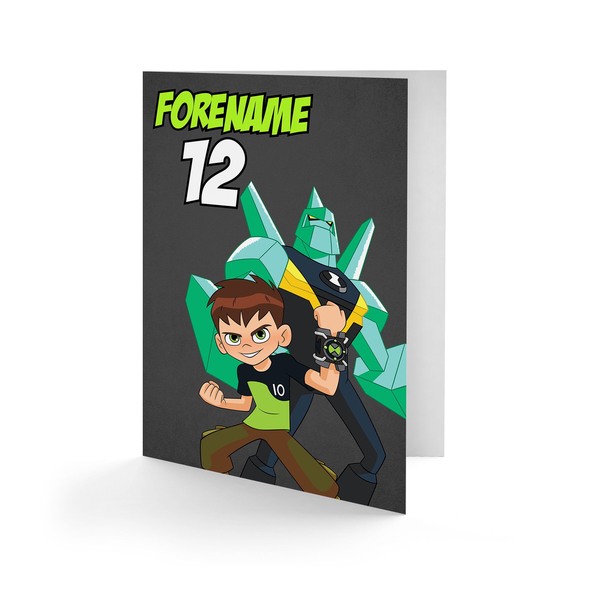 Ben 10 Diamondhead Name and Age Birthday Card