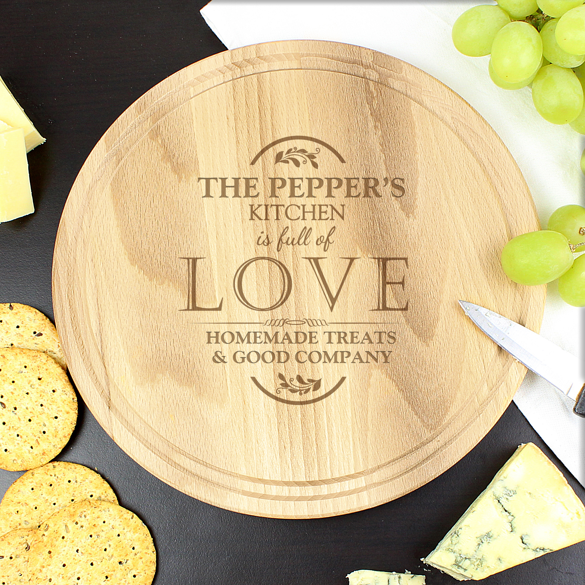Engraved Full of Love Large Round Chopping Board