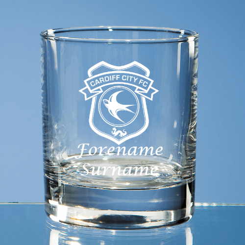 Cardiff City FC Crest Bar Line Old Fashioned Whisky Tumbler