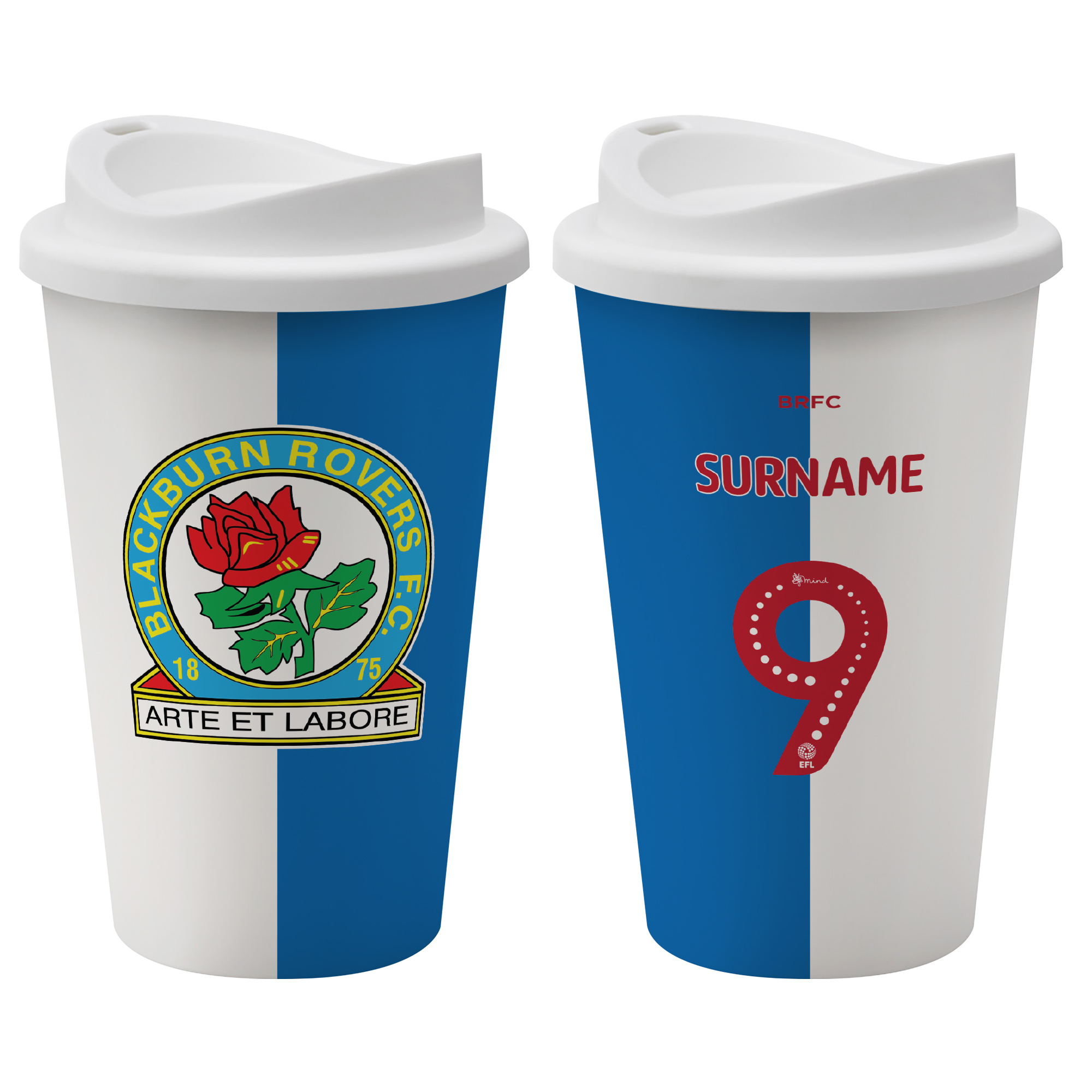 Blackburn Rovers FC Back of Shirt Reusable Cup