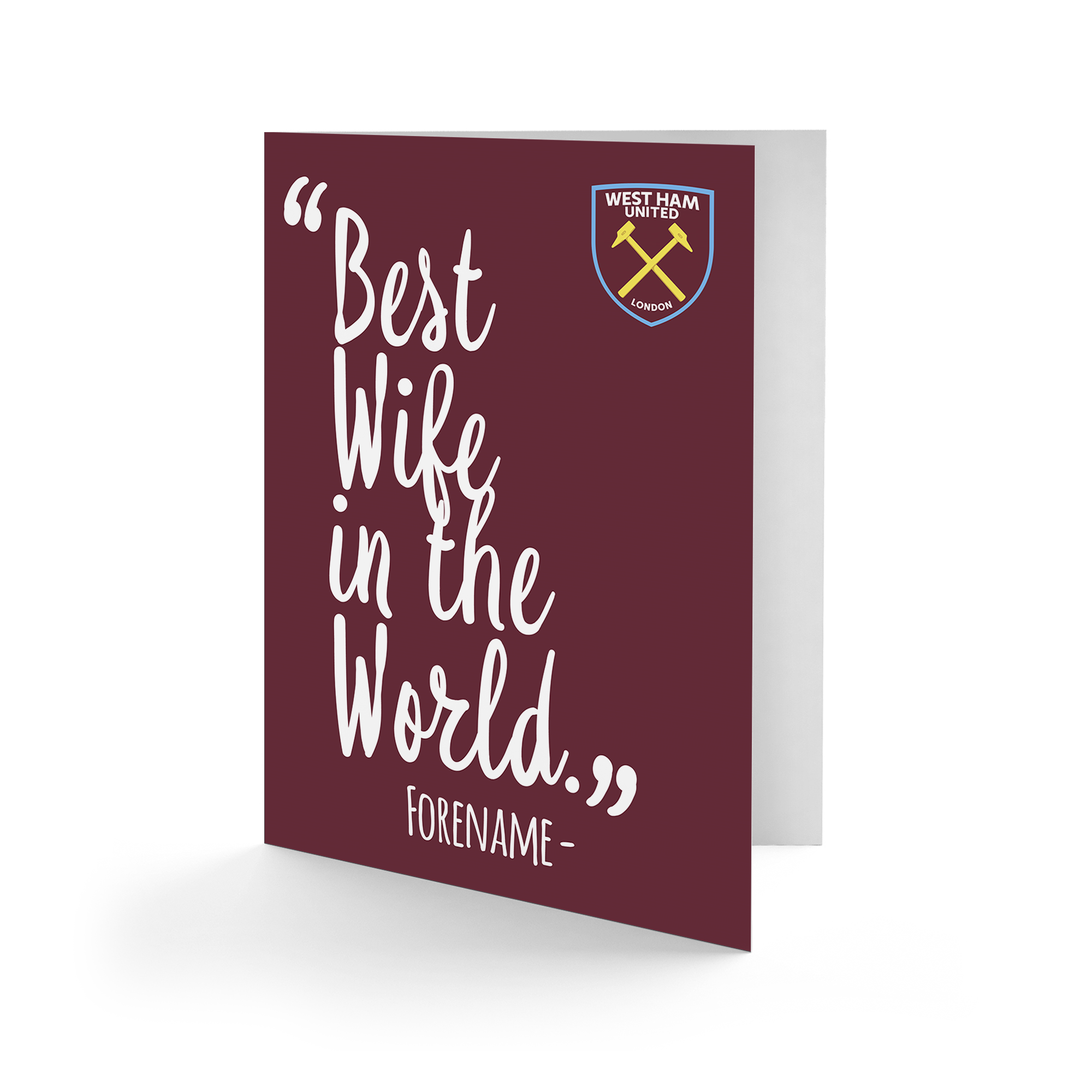 West Ham United FC Best Wife In The World Card