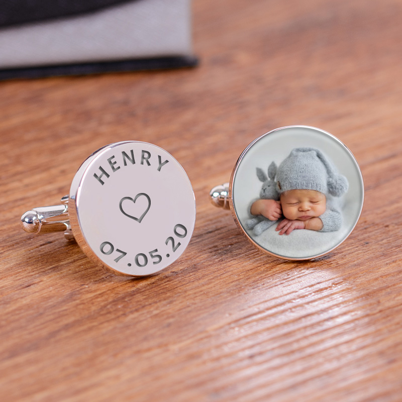 Childs Name and Date Photo Cufflinks