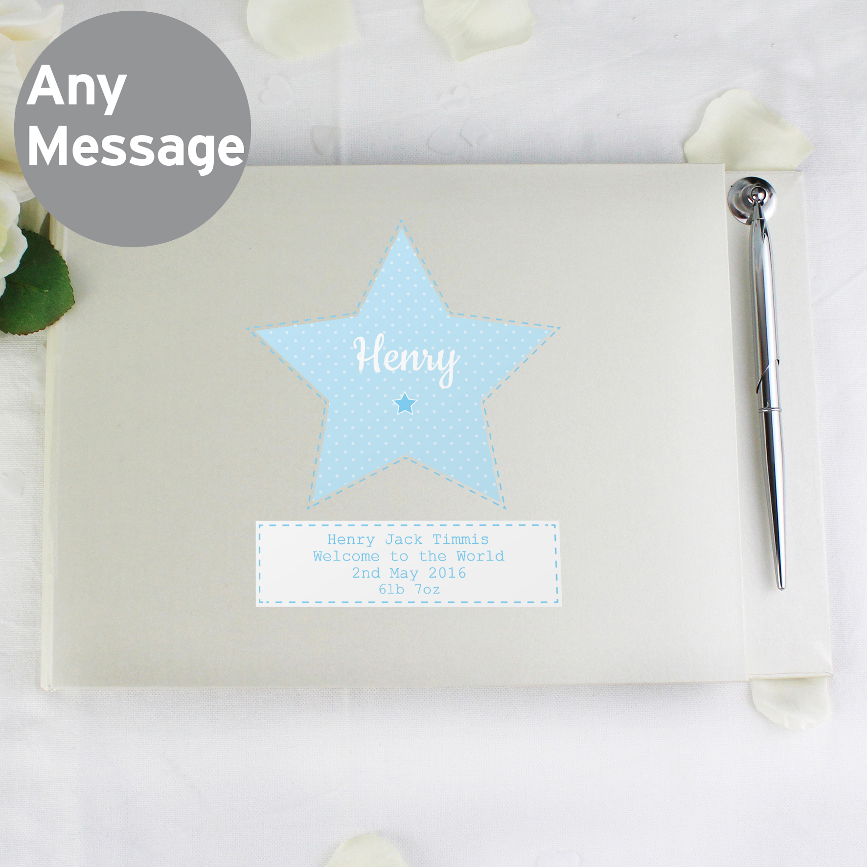 Personalised Stitch & Dot Boys Guest Book