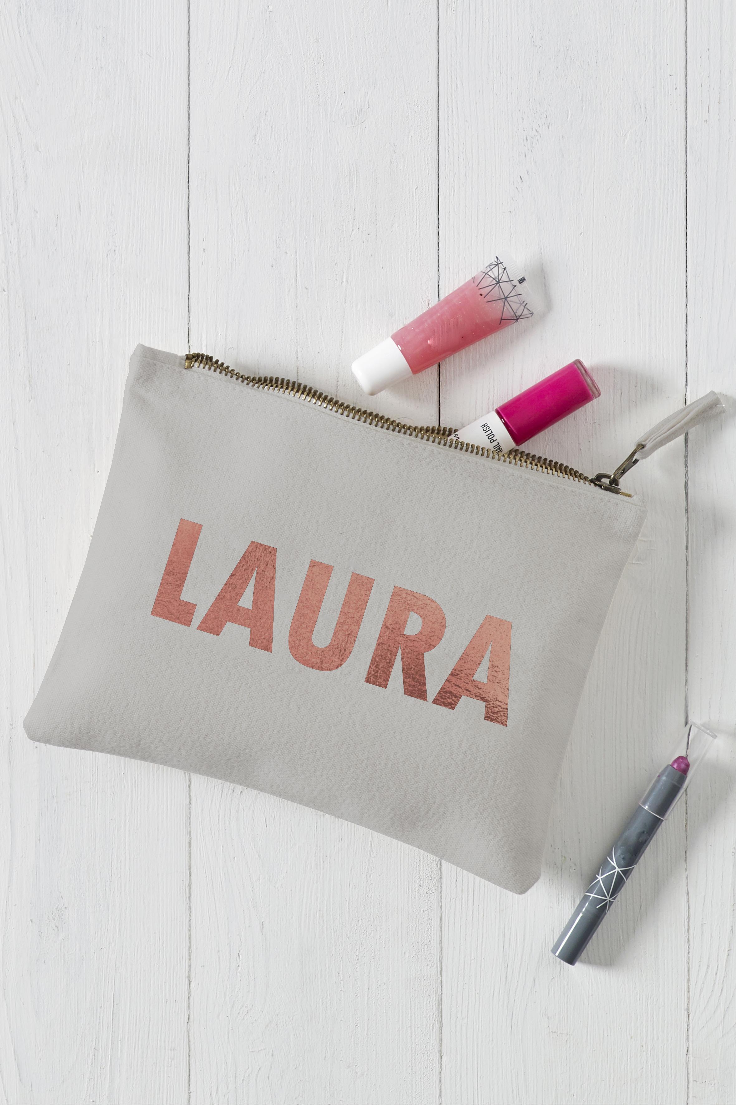 Bold Name Grey Make Up Bag