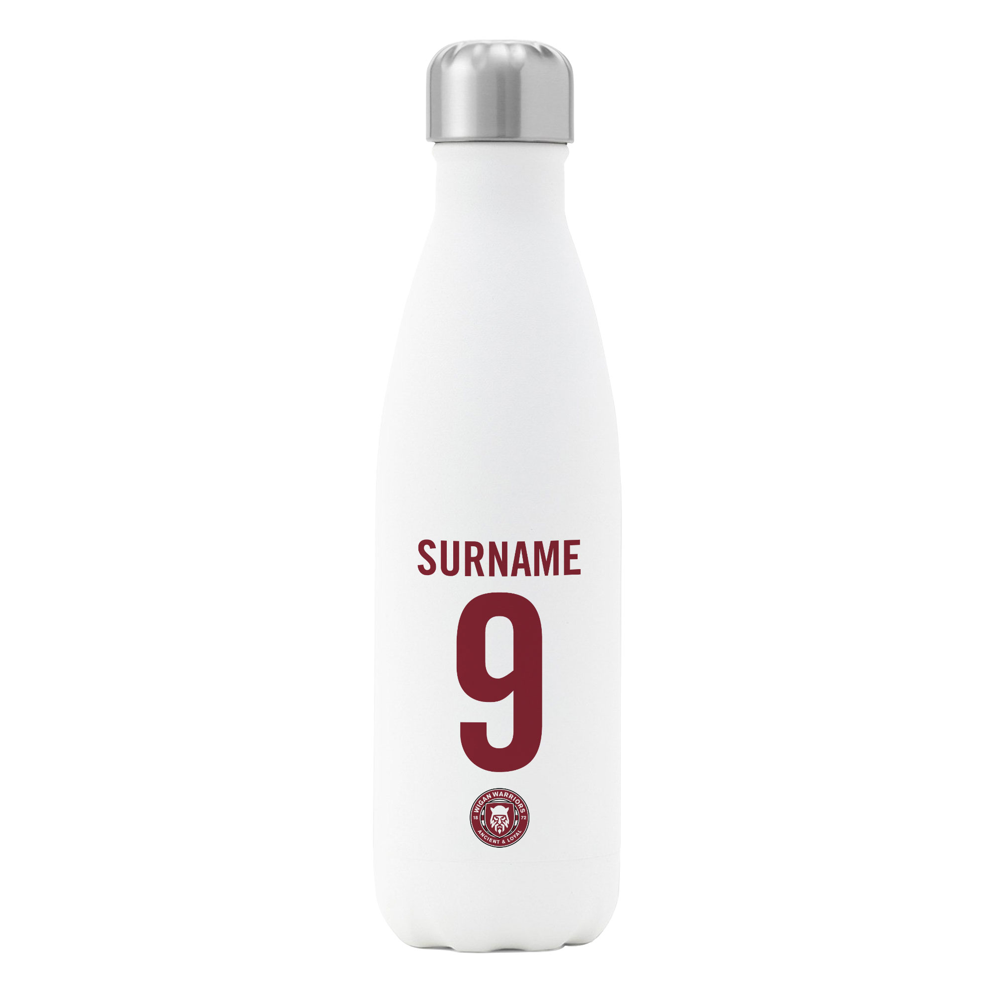 Wigan Warriors Back of Shirt Insulated Water Bottle - White