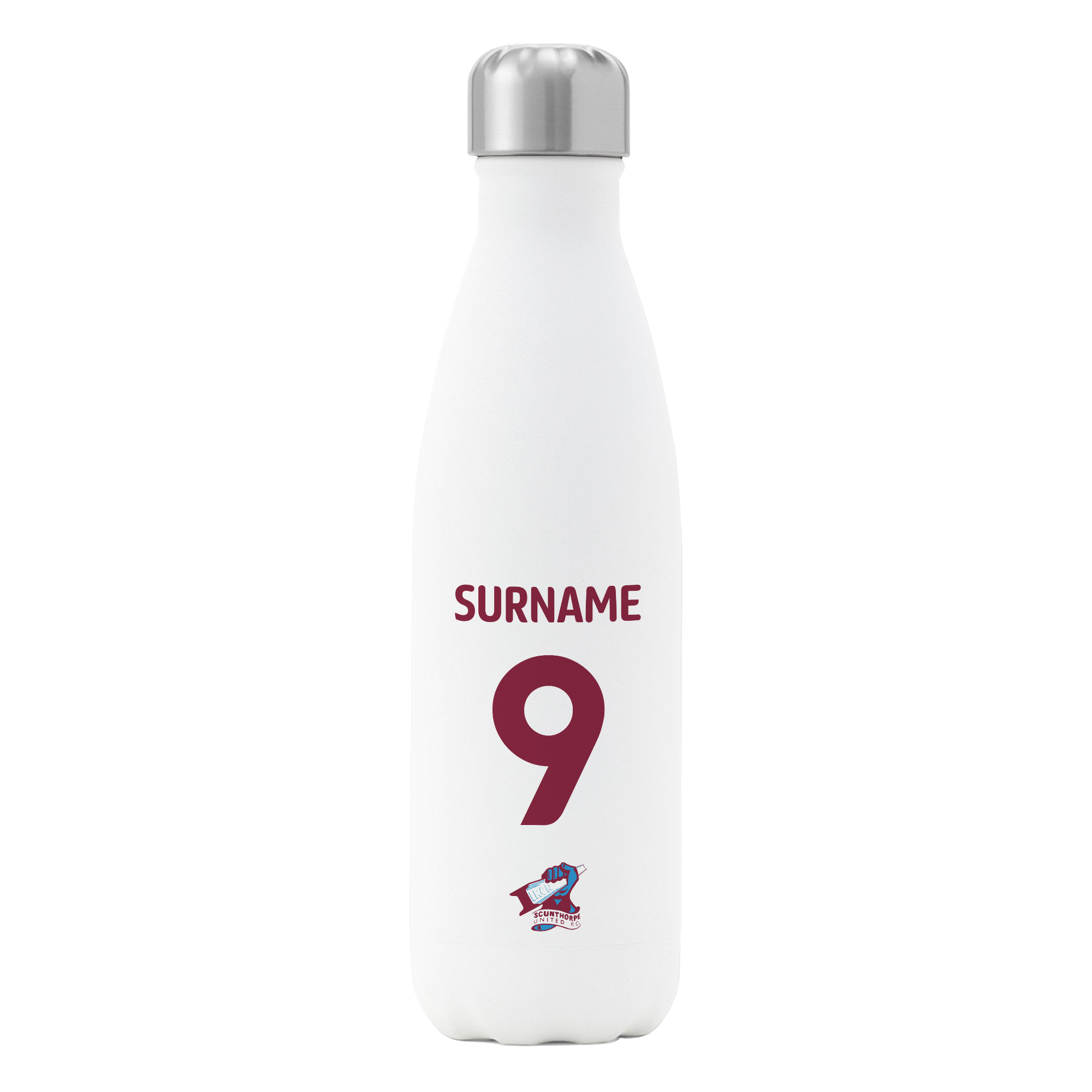 Scunthorpe United FC Back of Shirt Insulated Water Bottle - White