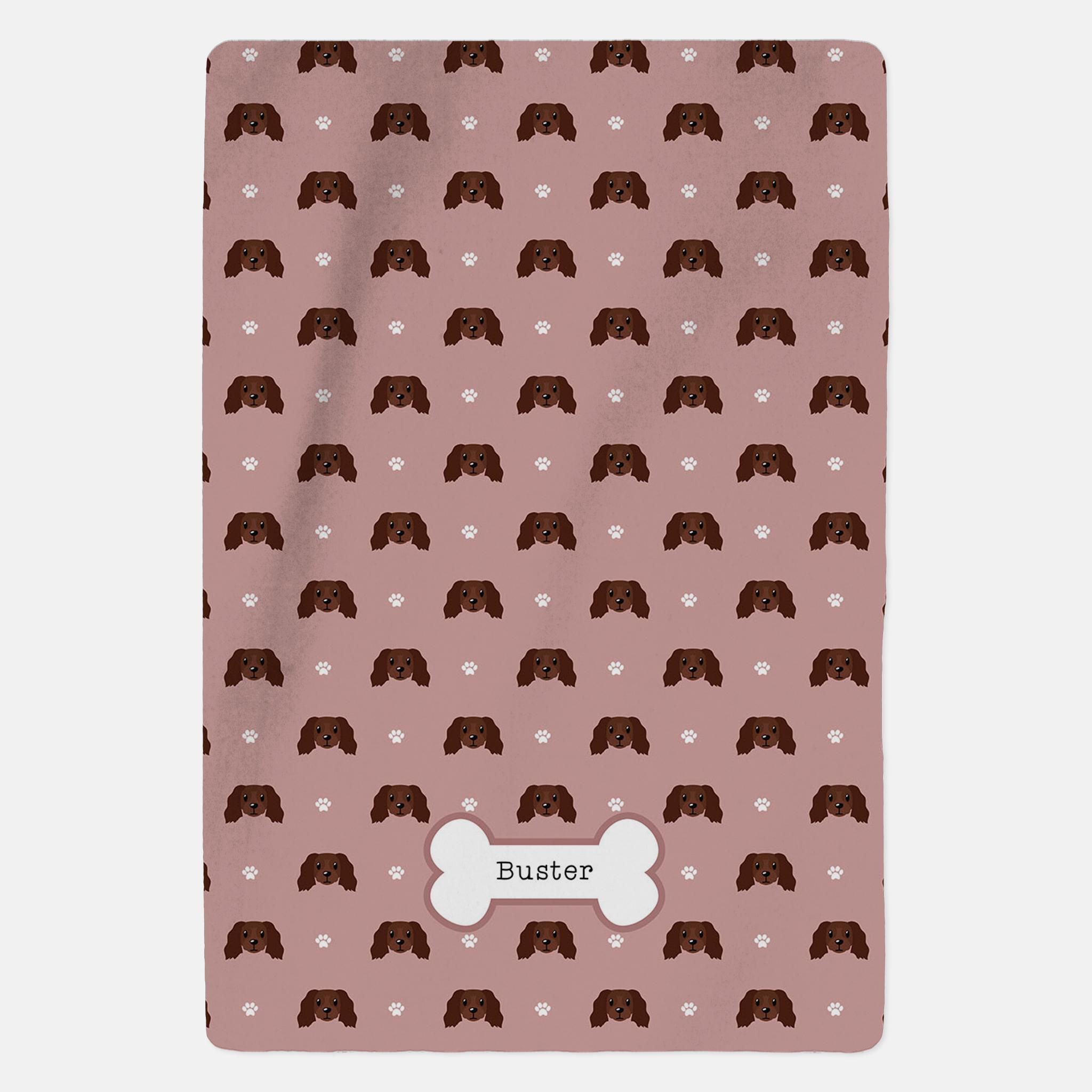 Personalised Chocolate Cocker Spaniel Blanket - Pattern