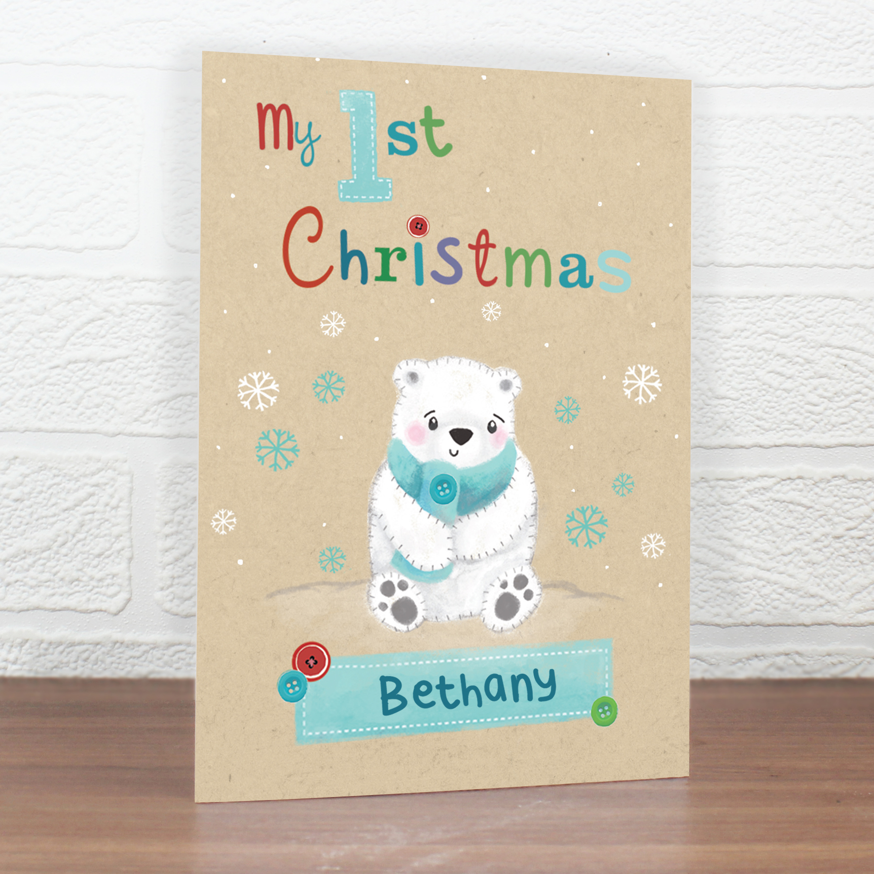 Personalised Polar Bear My 1st Christmas Card