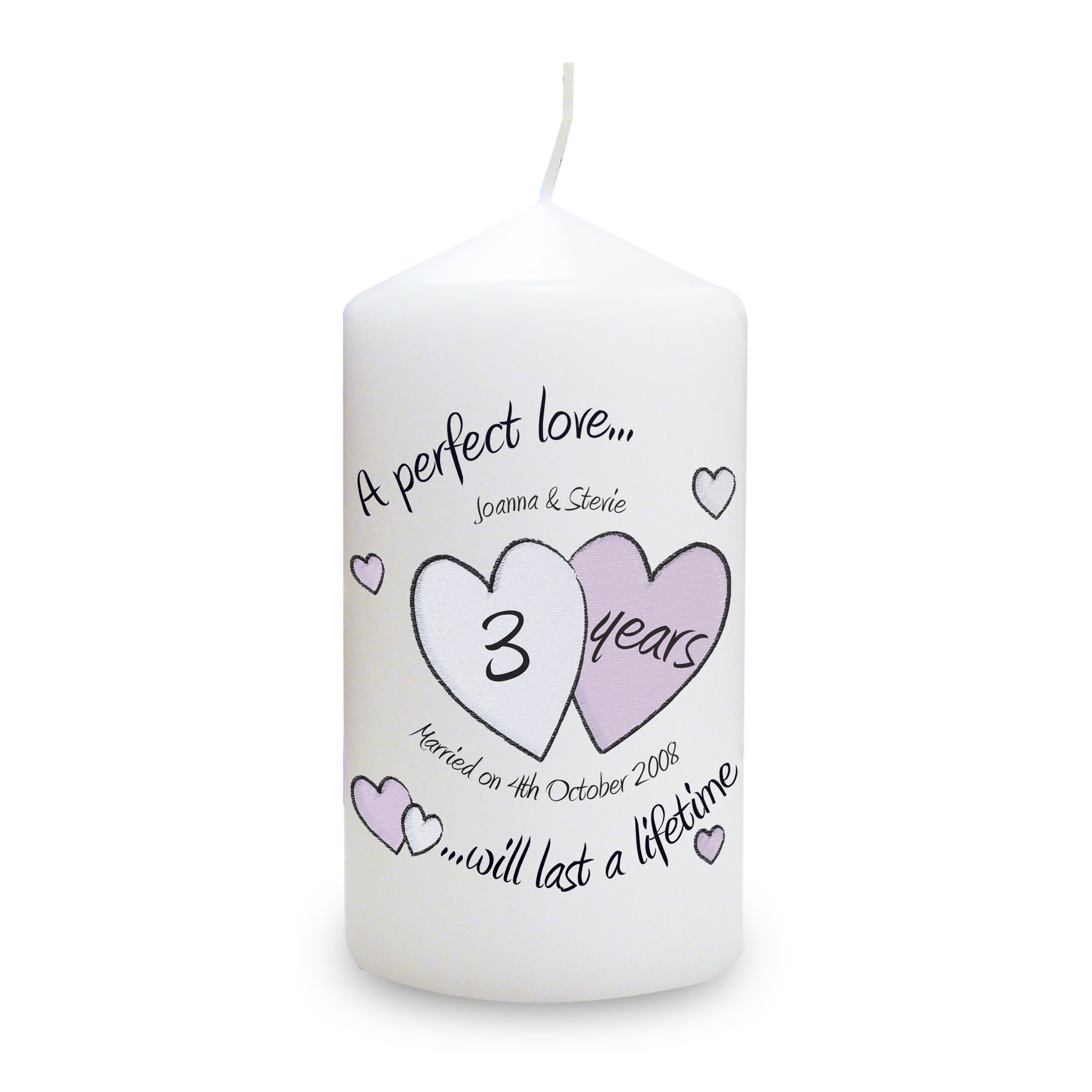 Personalised Perfect Love Anniversary Candle