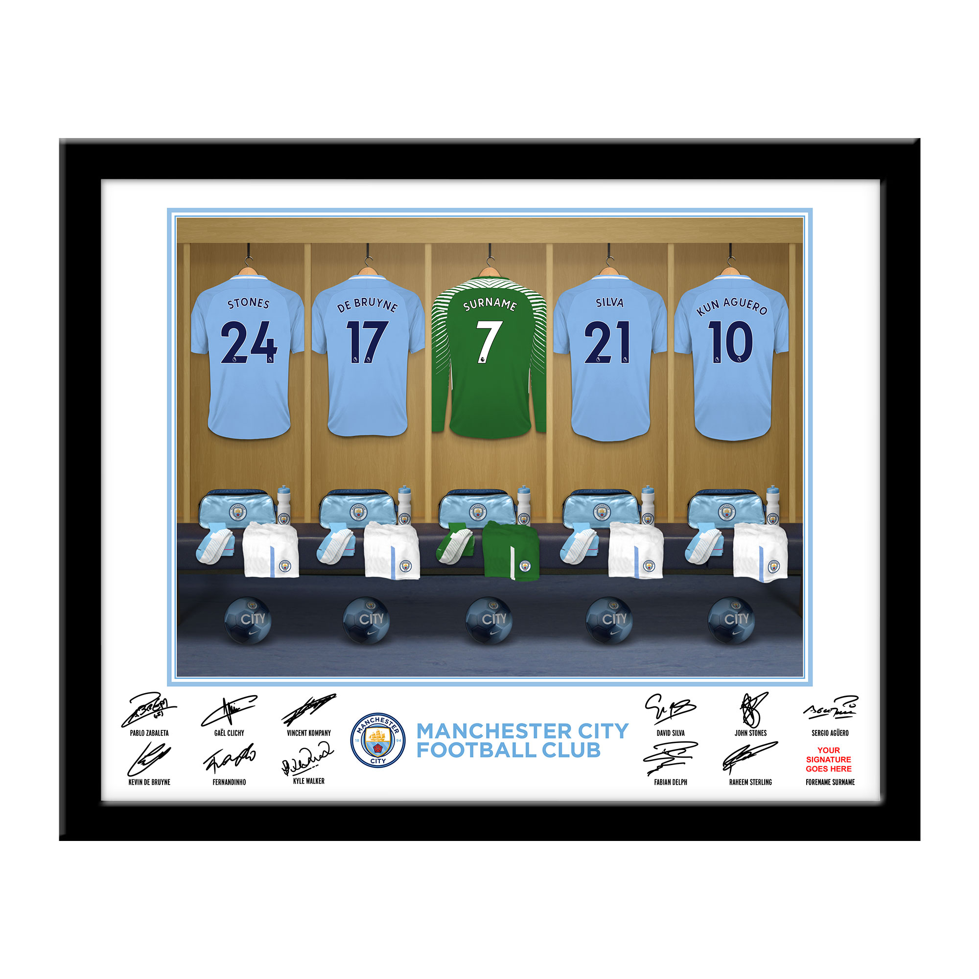 MCFC Goalkeeper Dressing Room Framed Print
