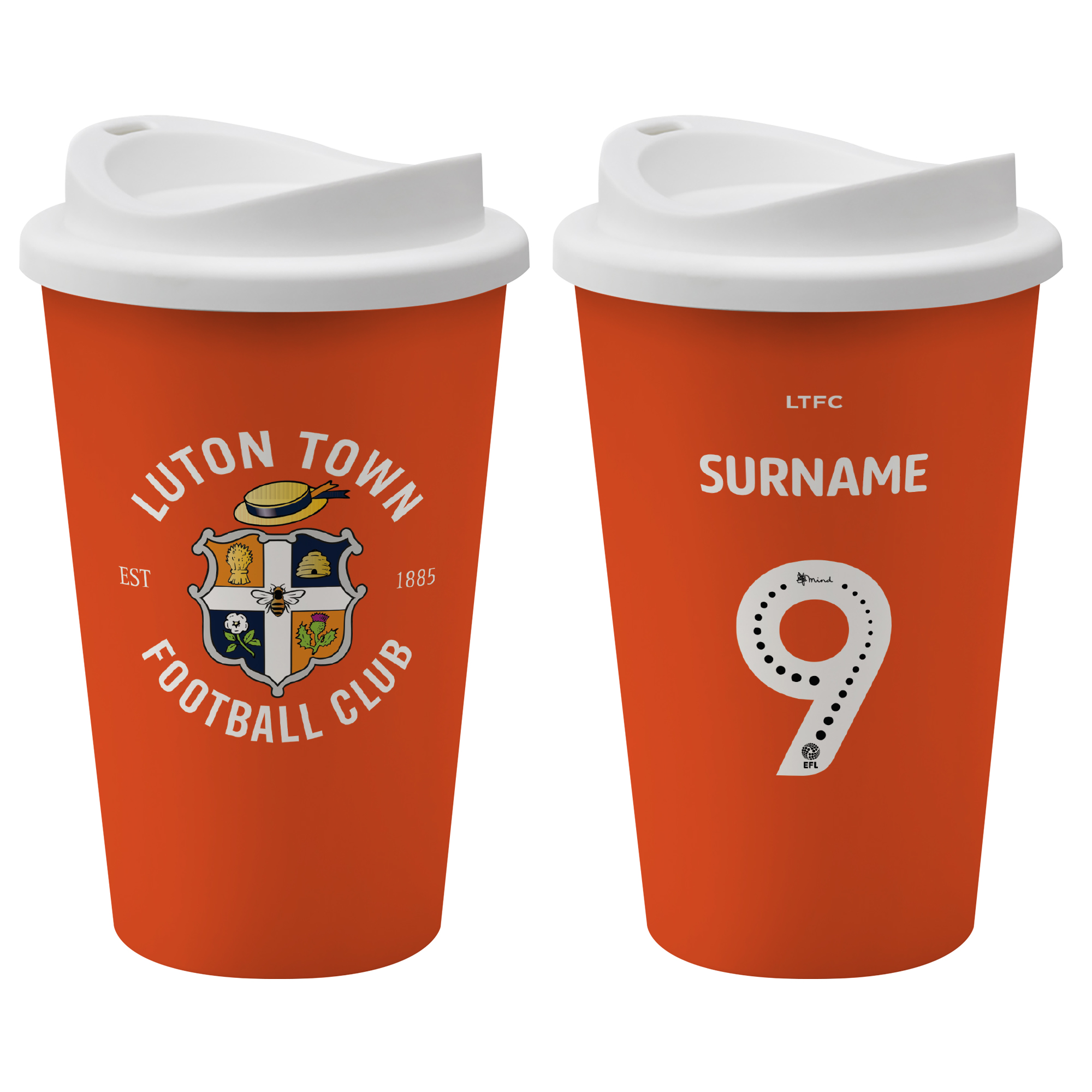 Luton Town FC Back of Shirt Reusable Cup