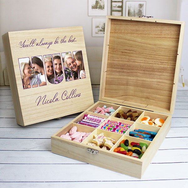 MUM Photo Gift - 9 Compartment Wooden Sweet Box