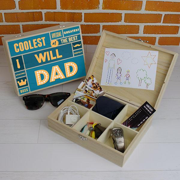 Best Dad - 6 Compartment Wooden Storage Box